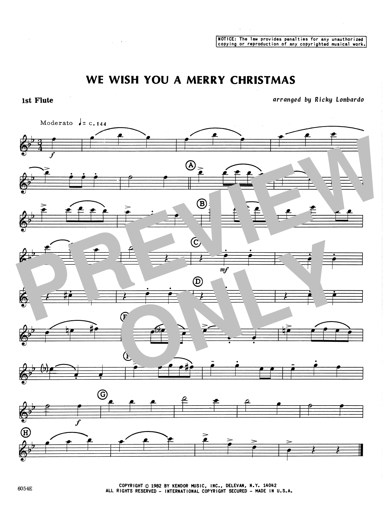 We Wish You A Merry Christmas - 1st Flute Sheet Music