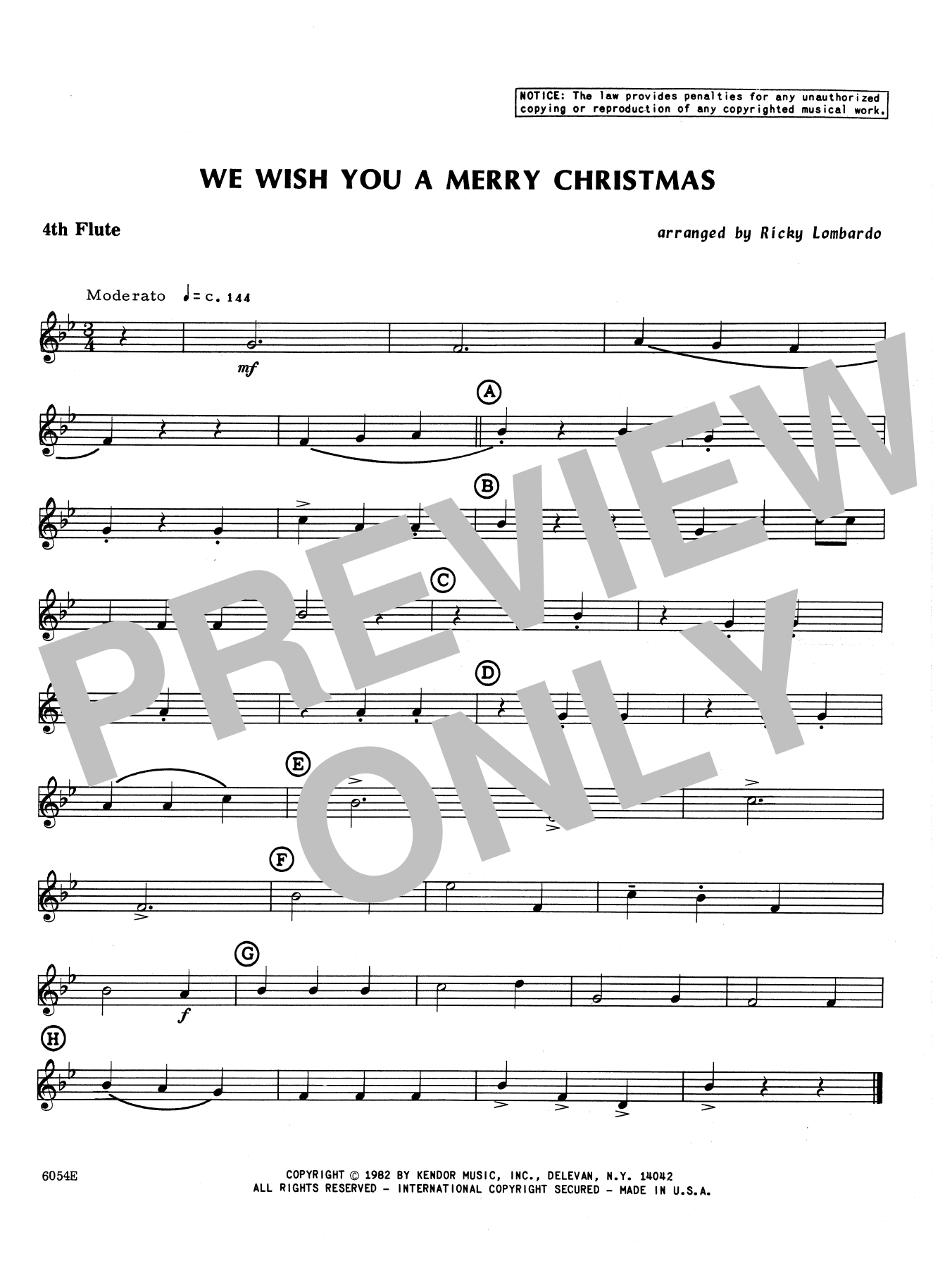We Wish You A Merry Christmas - 4th Flute Sheet Music