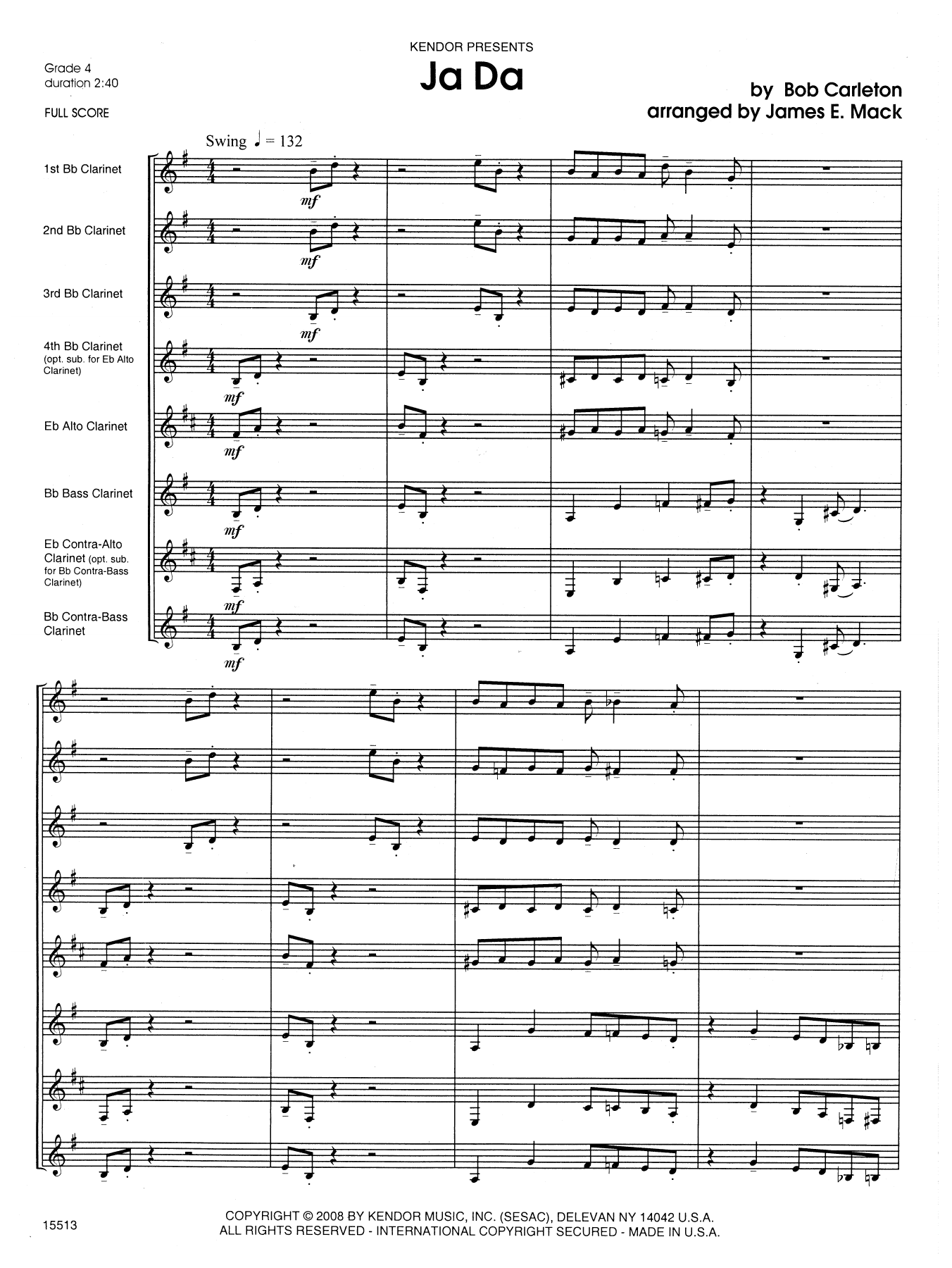 Ja Da (COMPLETE) sheet music for clarinet octet by James E. Mack and Carleton. Score Image Preview.