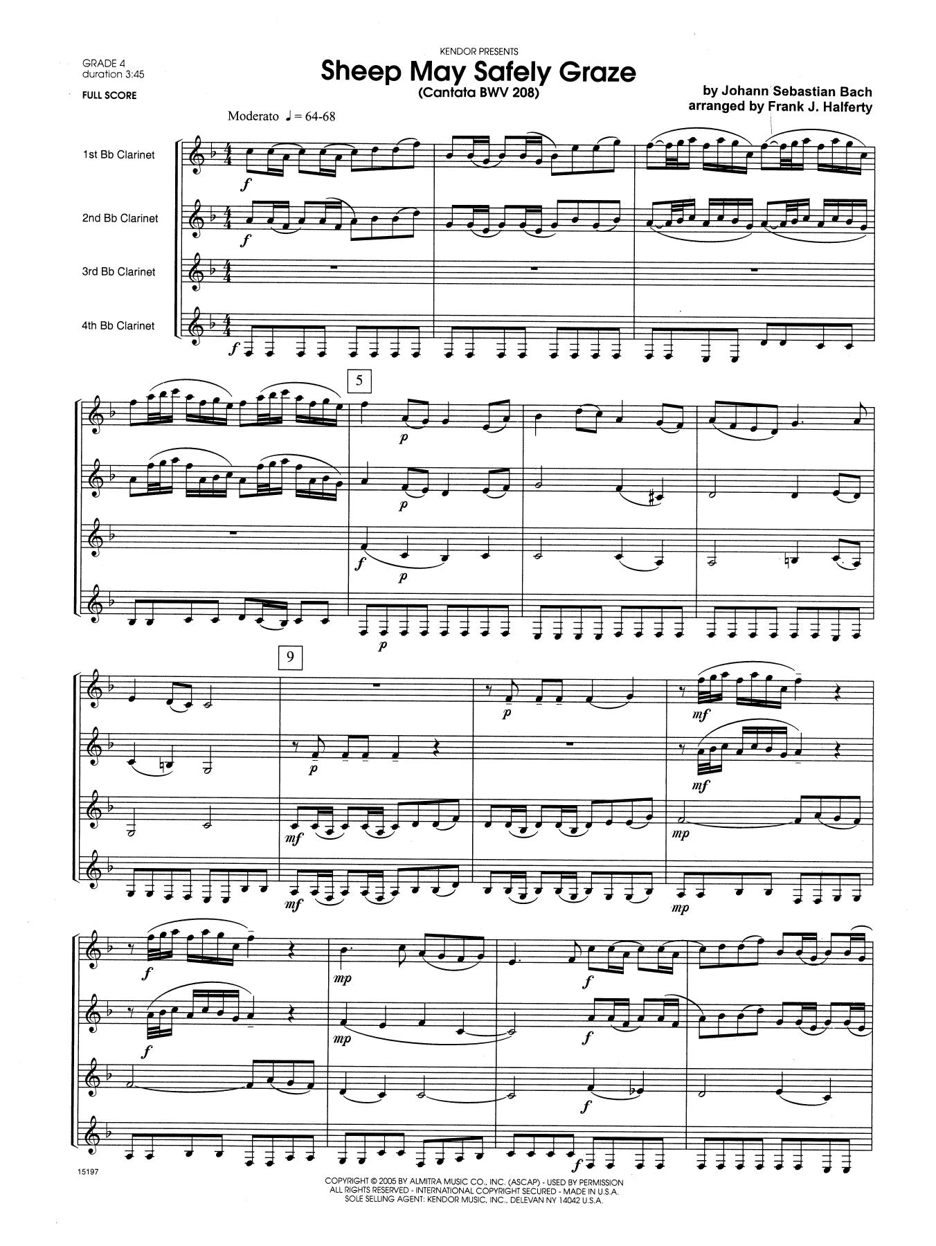 Sheep May Safely Graze (Cantata BWV 208) (COMPLETE) sheet music for four clarinets by Frank J. Halferty and Johann Sebastian Bach. Score Image Preview.