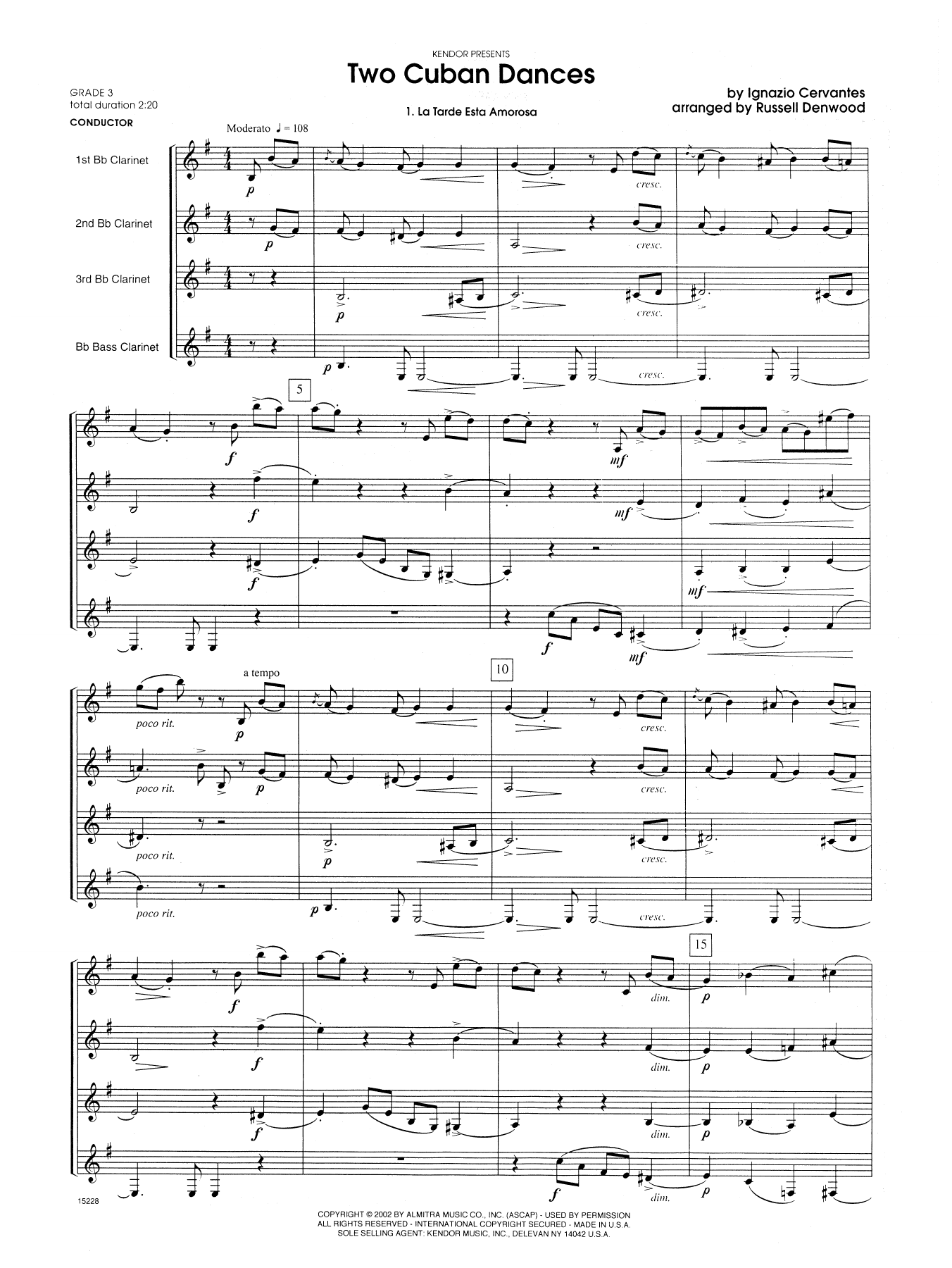 Two Cuban Dances (COMPLETE) sheet music for clarinet quartet by Russell Denwood and Cervantes. Score Image Preview.
