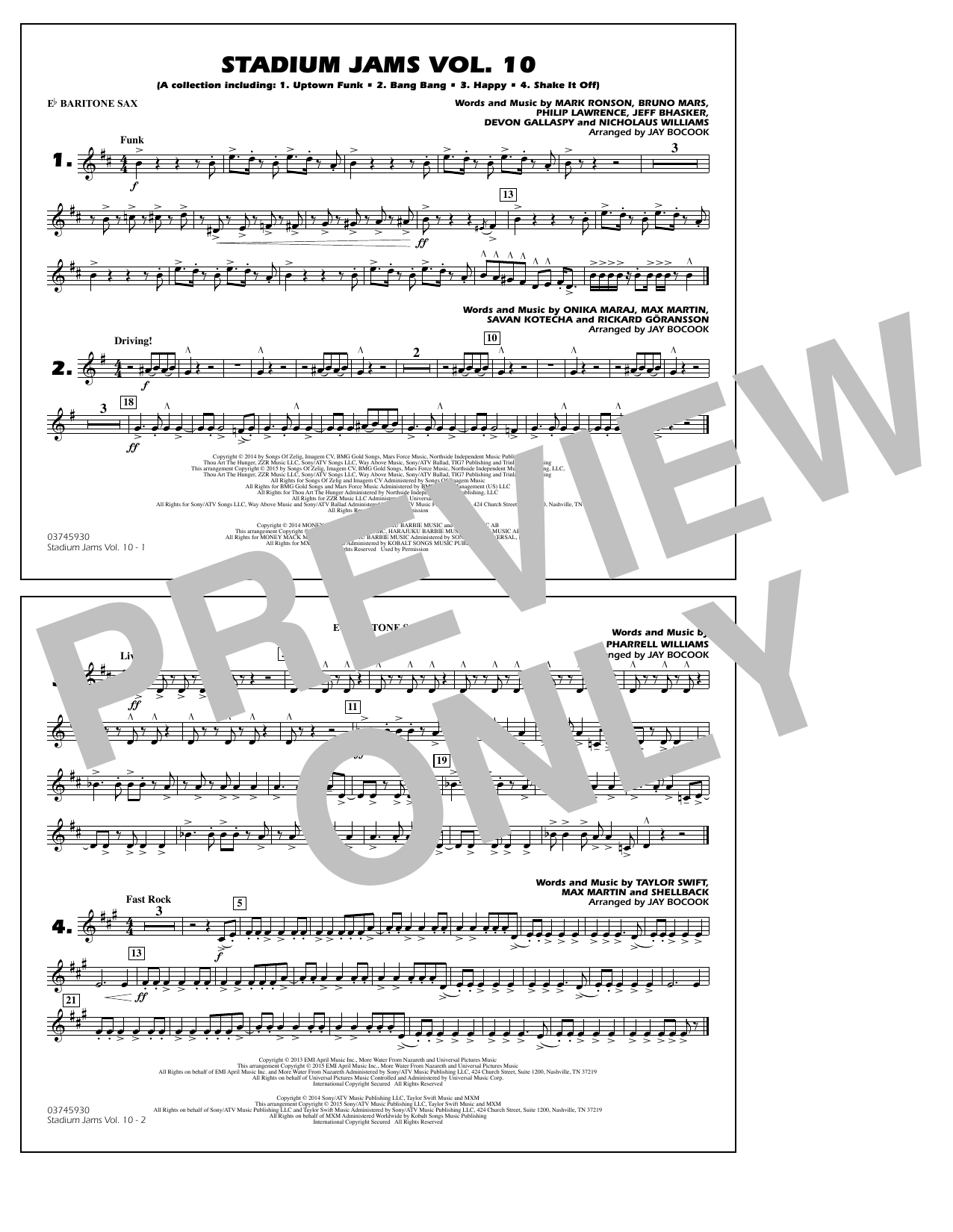 Stadium Jams Vol. 10 - Eb Baritone Sax (Marching Band)