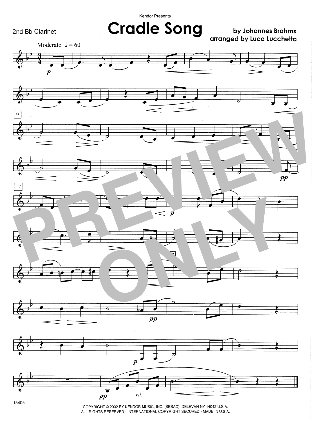 Cradle Song - 2nd Bb Clarinet Sheet Music