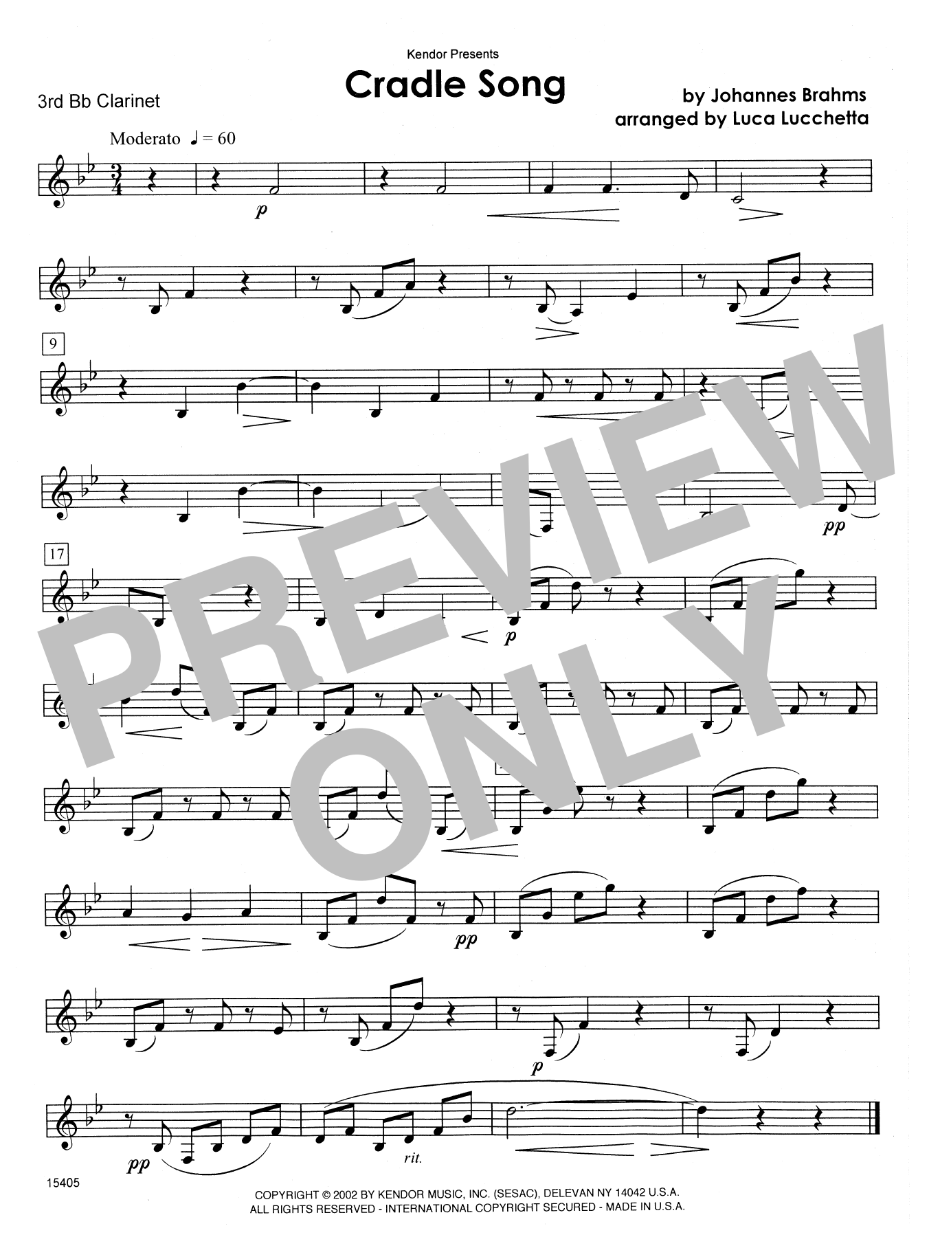 Cradle Song - 3rd Bb Clarinet Sheet Music