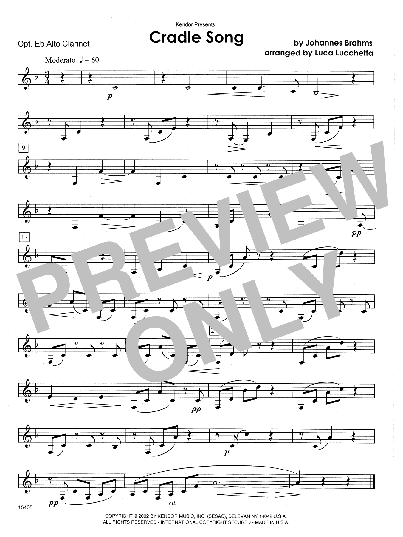 Cradle Song - Eb Alto Clarinet Sheet Music