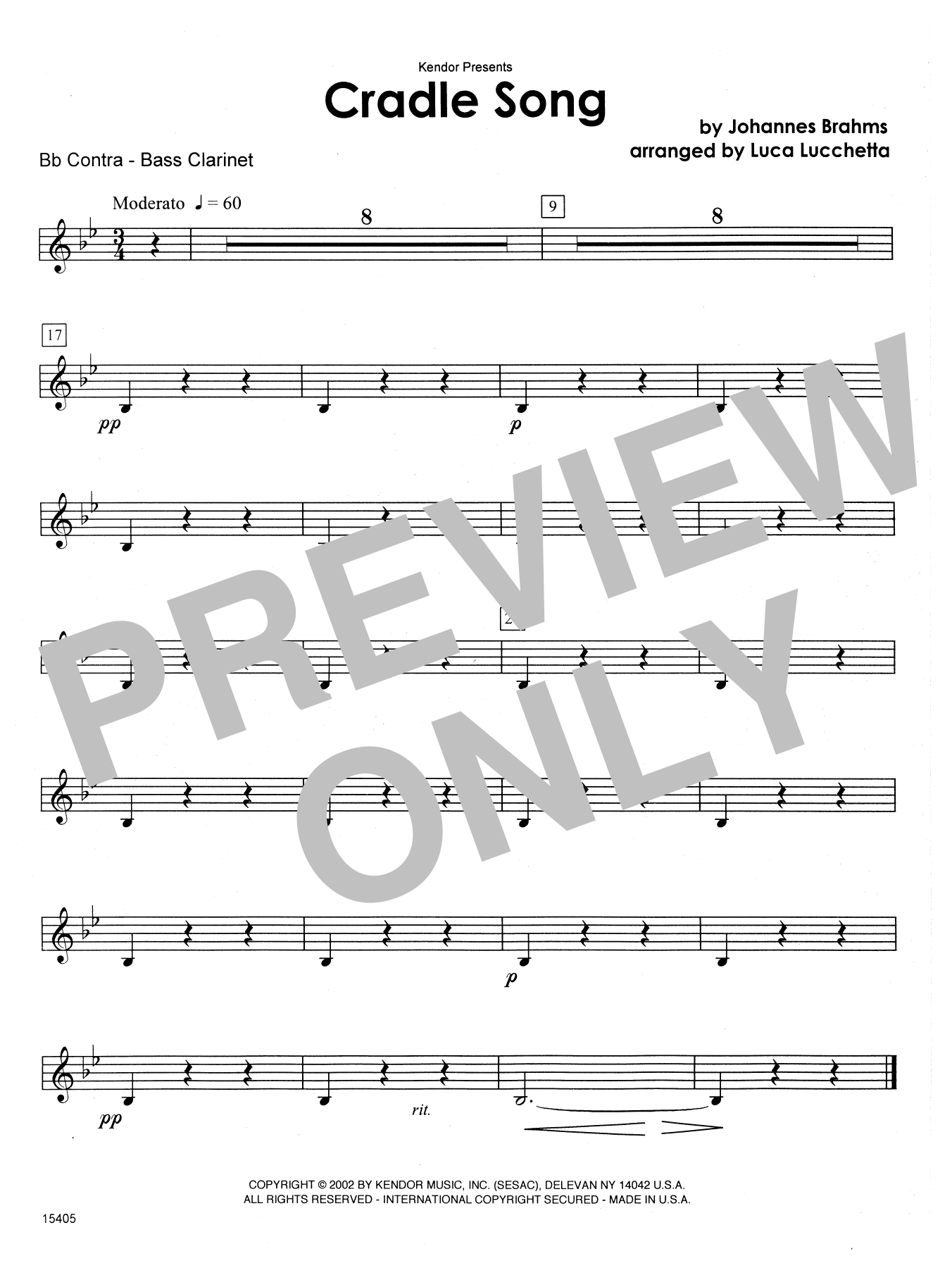 Cradle Song - Bb Contra Bass Clarinet Sheet Music