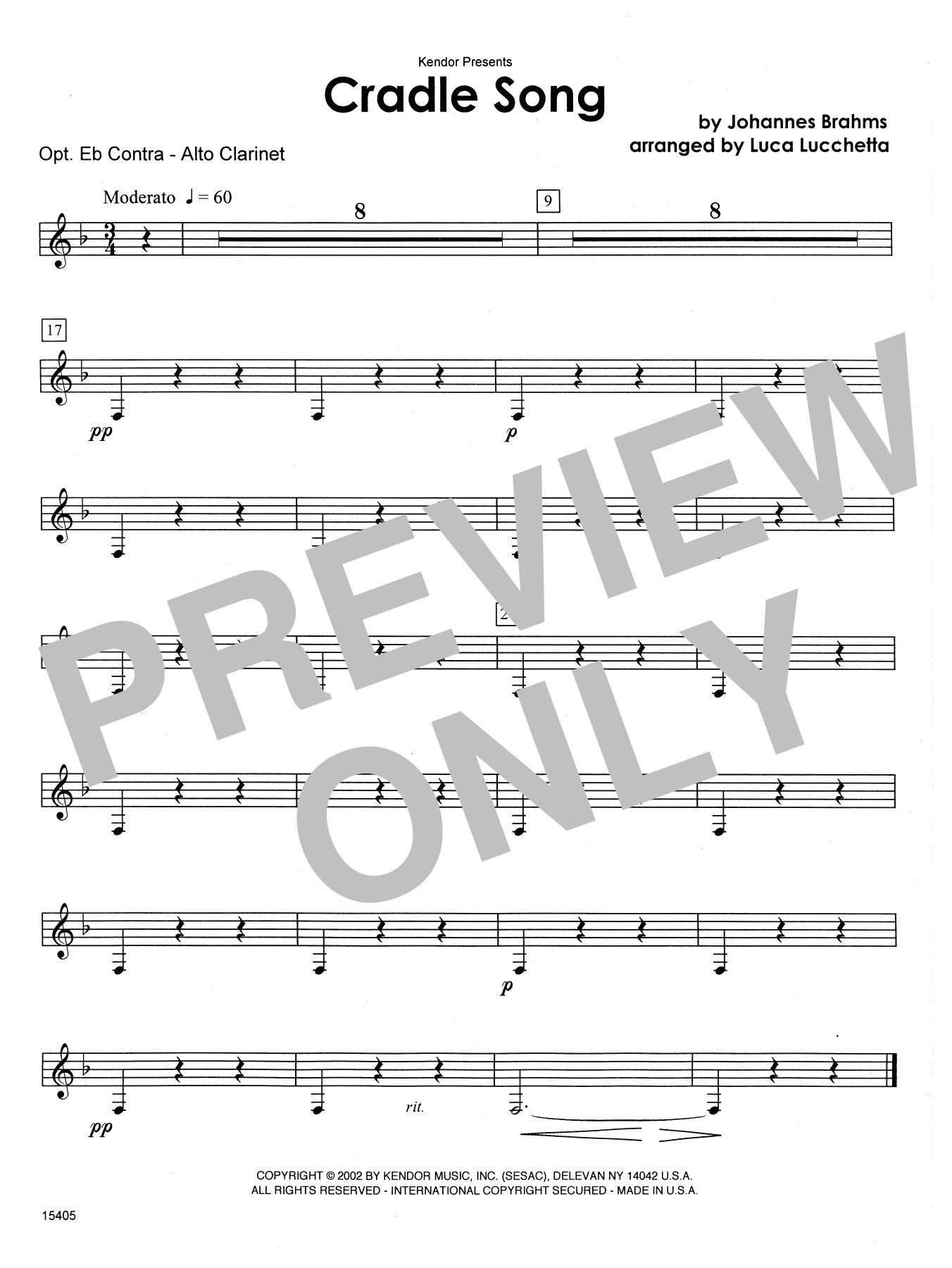 Cradle Song - Eb Contra Alto Clarinet Sheet Music