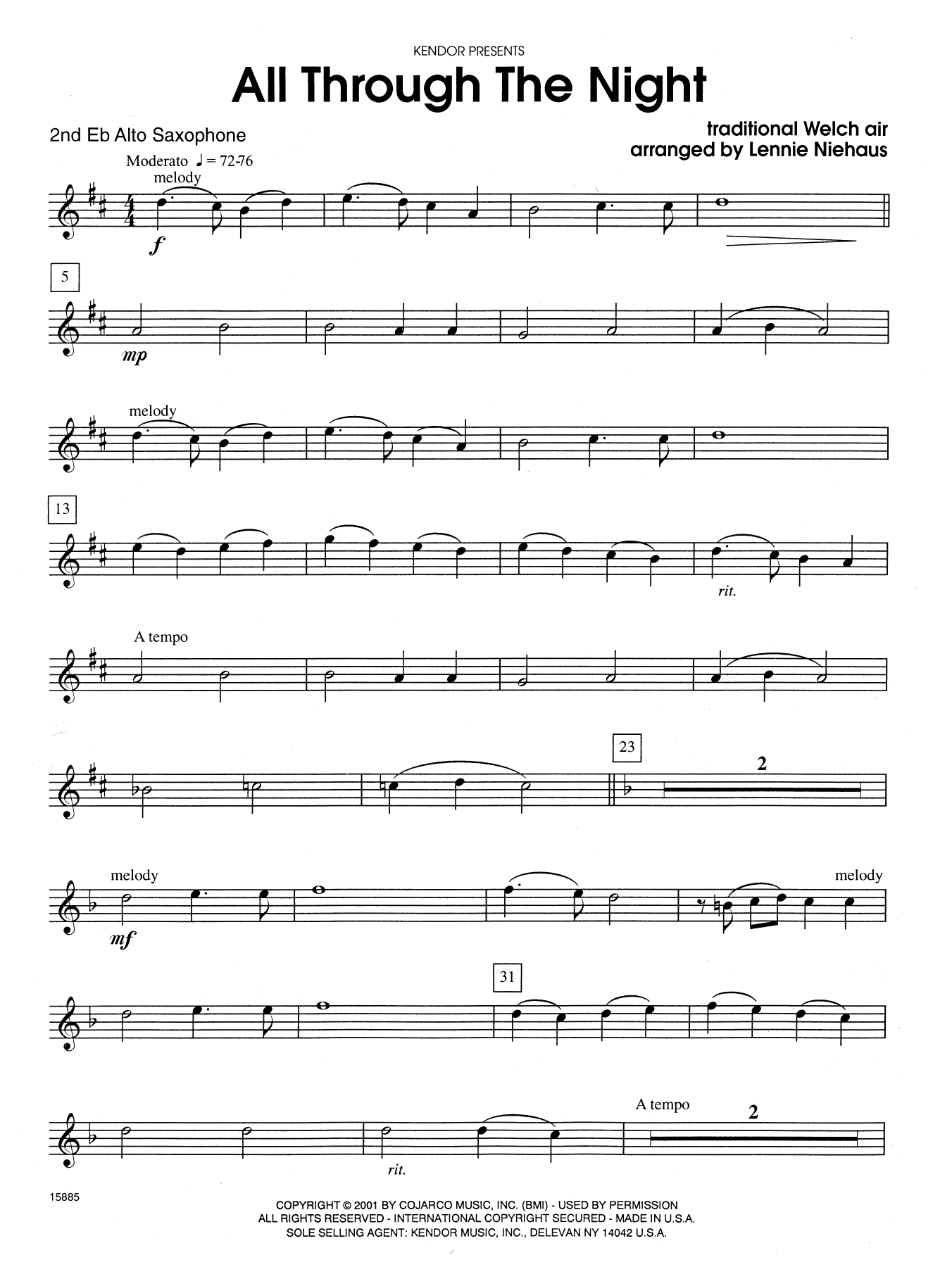 All Through the Night - 2nd Eb Alto Saxophone Sheet Music