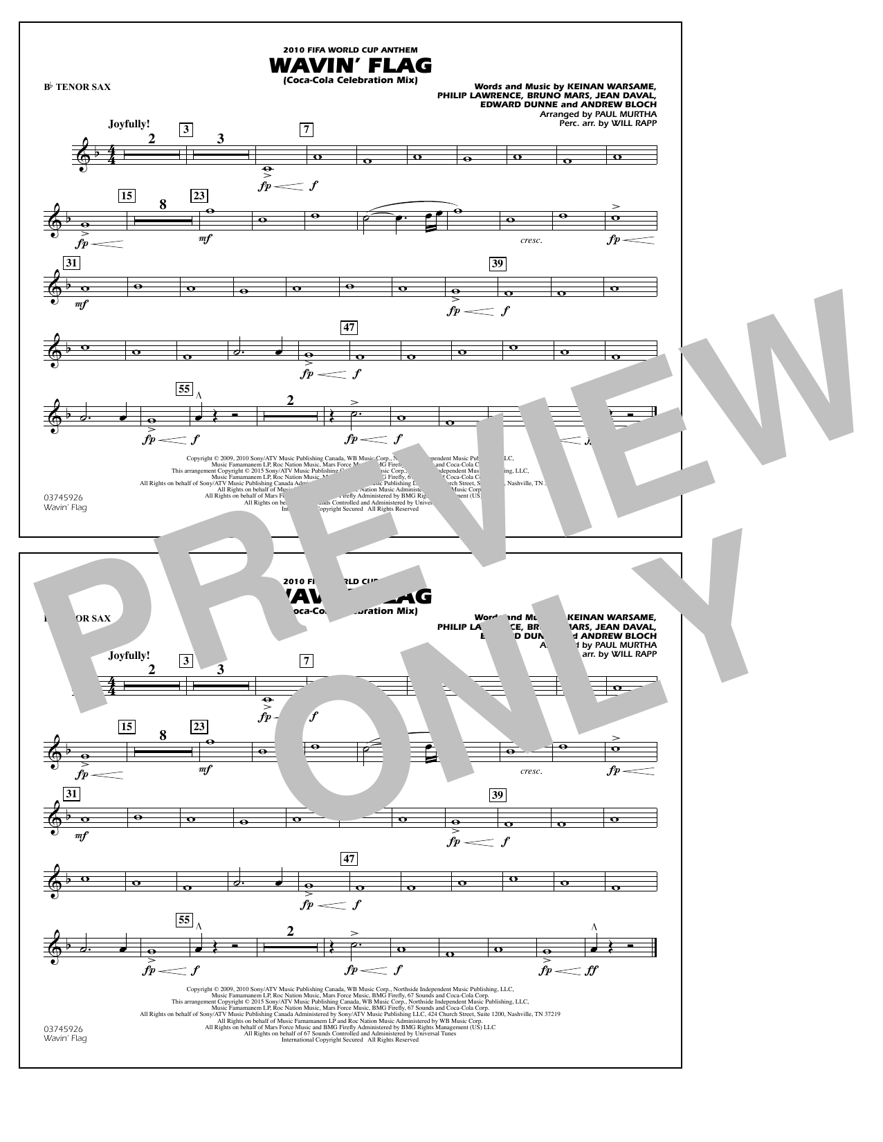 Wavin' Flag - Bb Tenor Sax (Marching Band)
