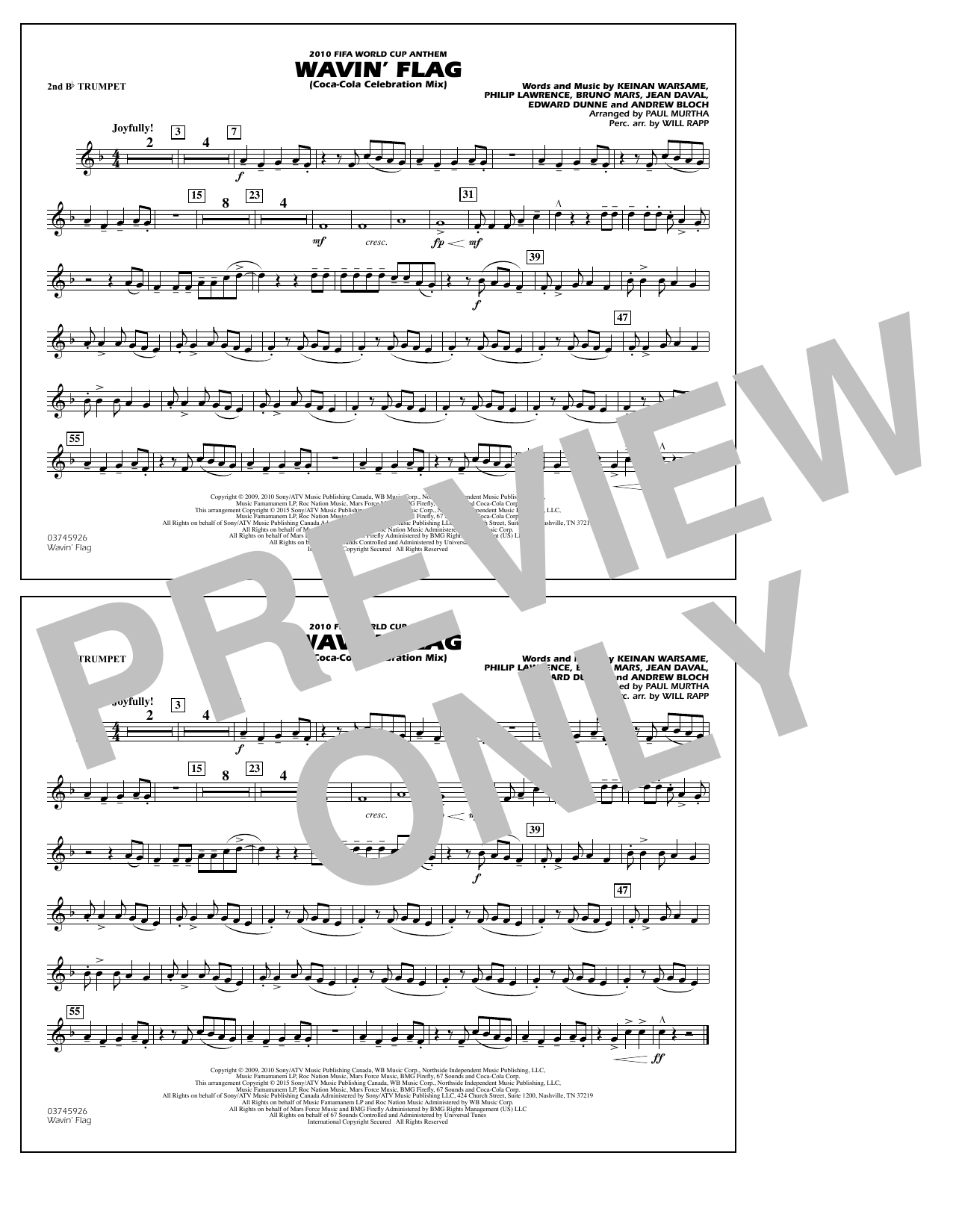 Wavin' Flag - 2nd Bb Trumpet (Marching Band)