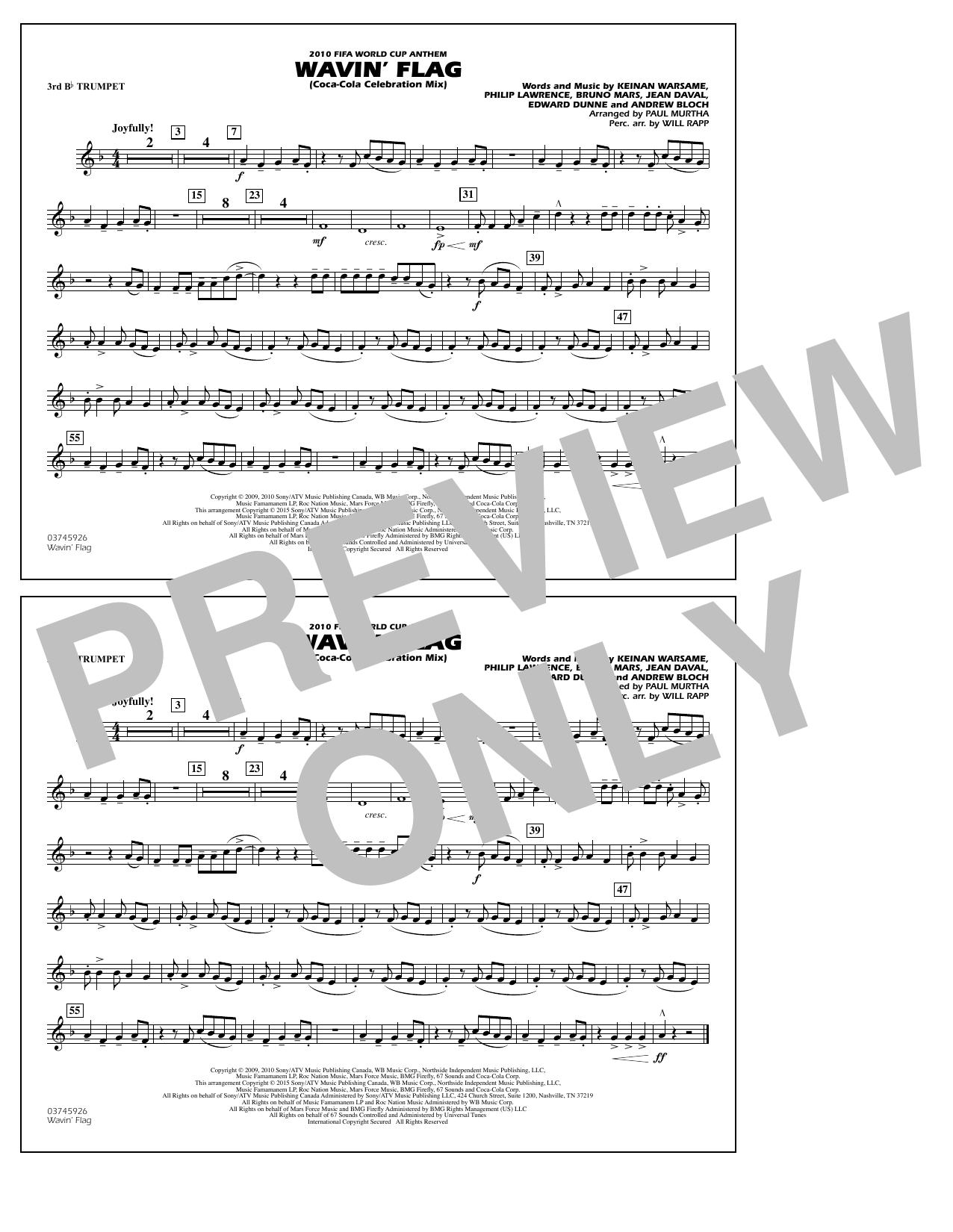 Wavin' Flag - 3rd Bb Trumpet (Marching Band)