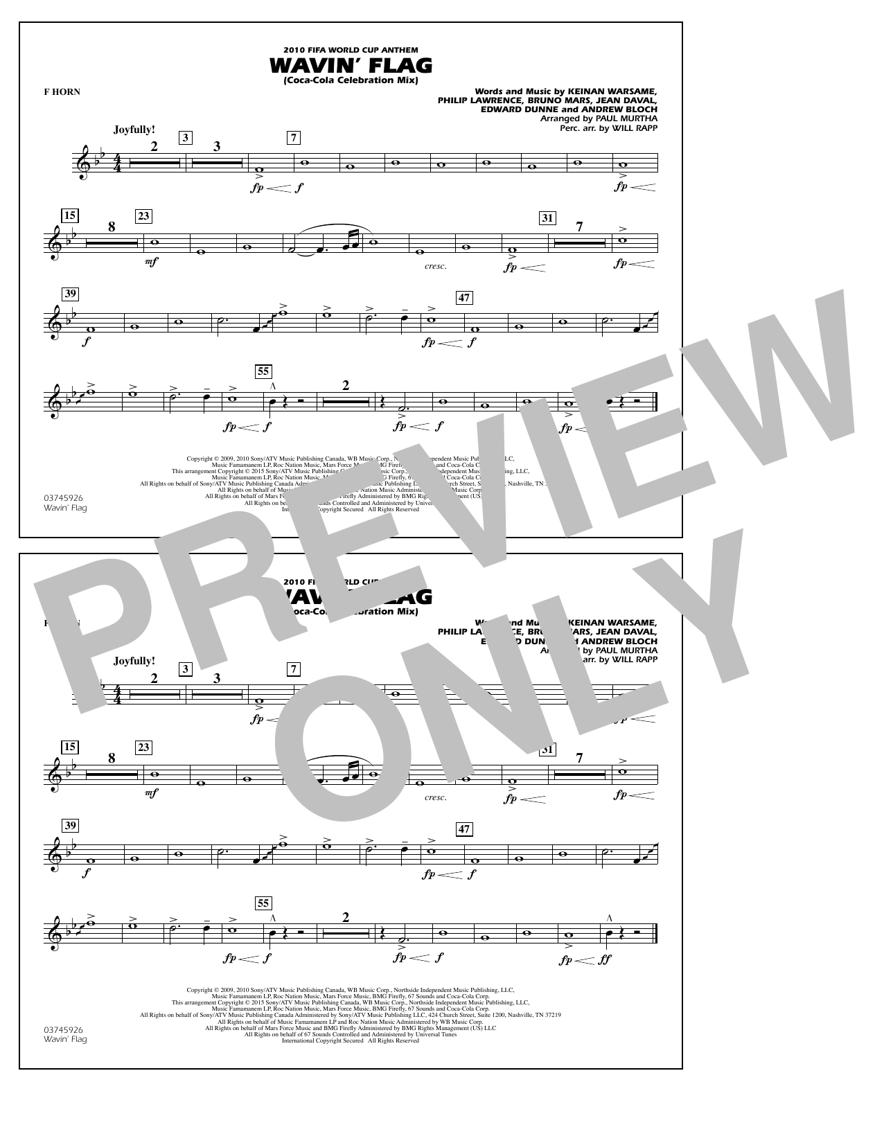 Wavin' Flag - F Horn (Marching Band)