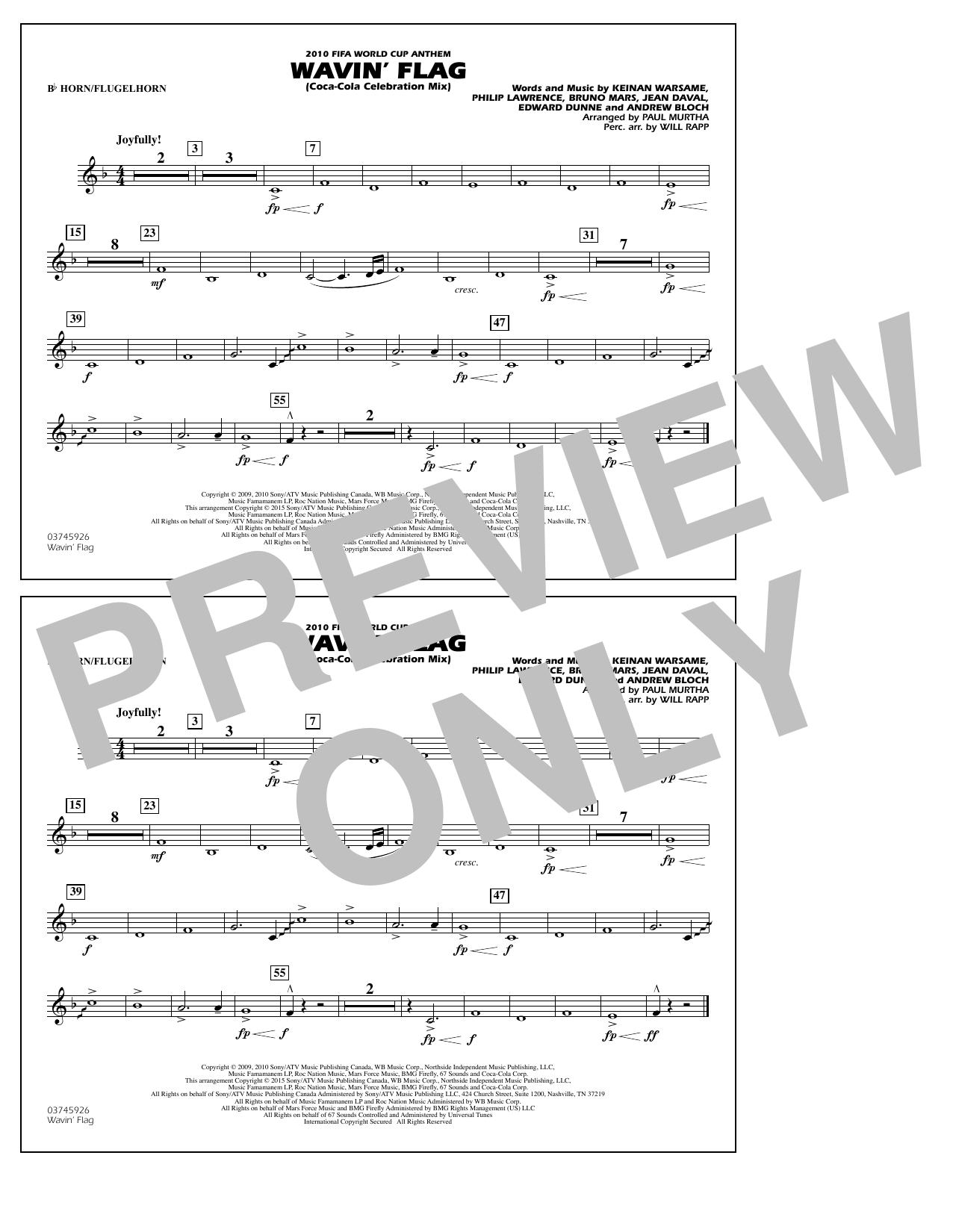 Wavin' Flag - Bb Horn/Flugelhorn (Marching Band)