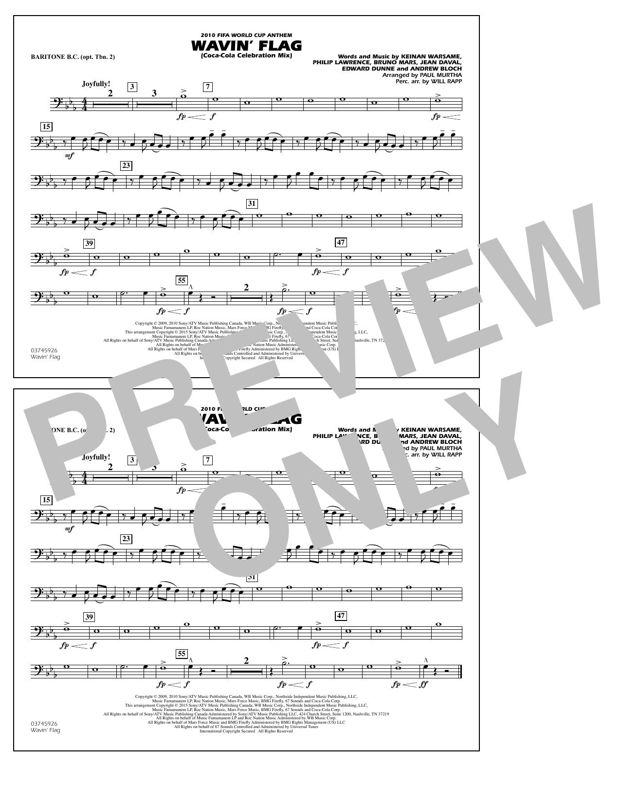 Wavin' Flag - Baritone B.C. (Opt. Tbn. 2) (Marching Band)