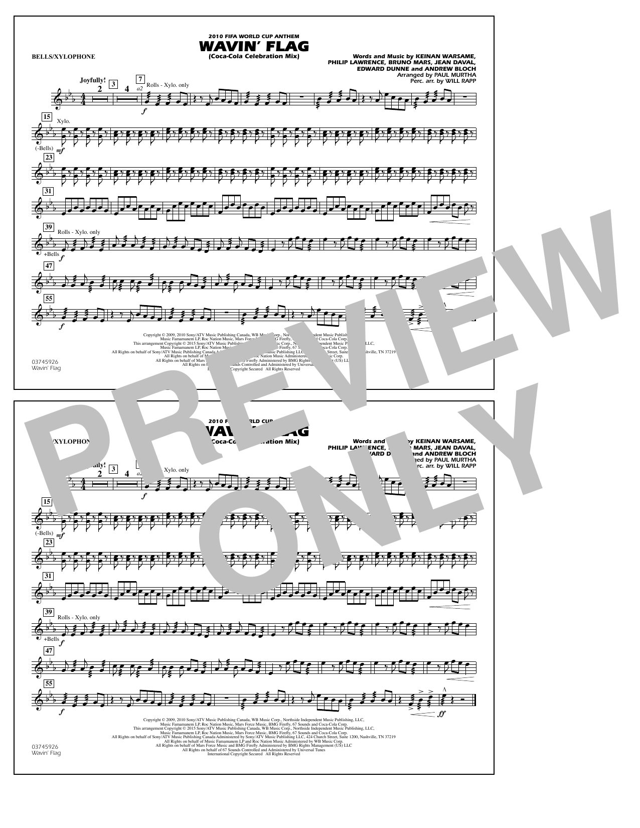 Wavin' Flag - Bells/Xylophone (Marching Band)