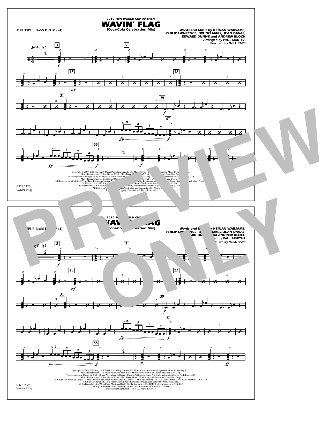 Wavin' Flag - Multiple Bass Drums (Marching Band)