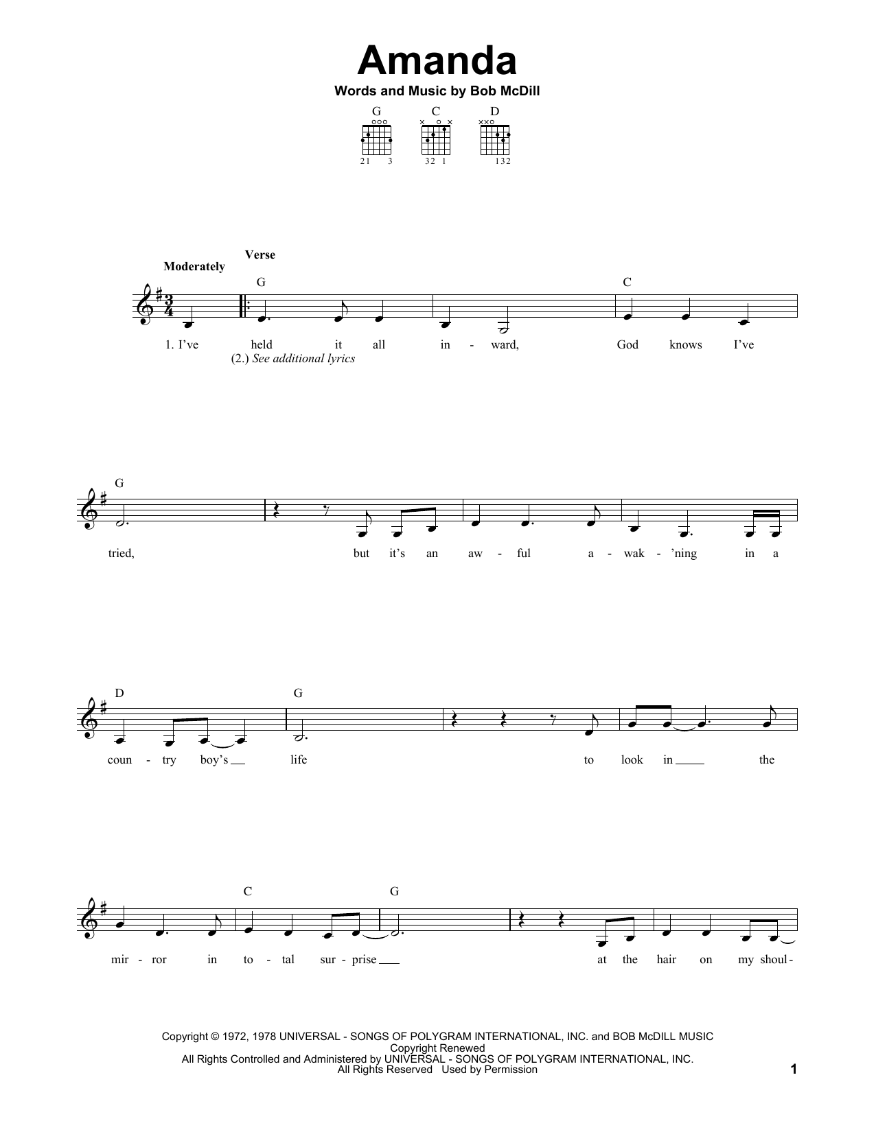 Tablature guitare Amanda de Waylon Jennings - Tablature guitare facile