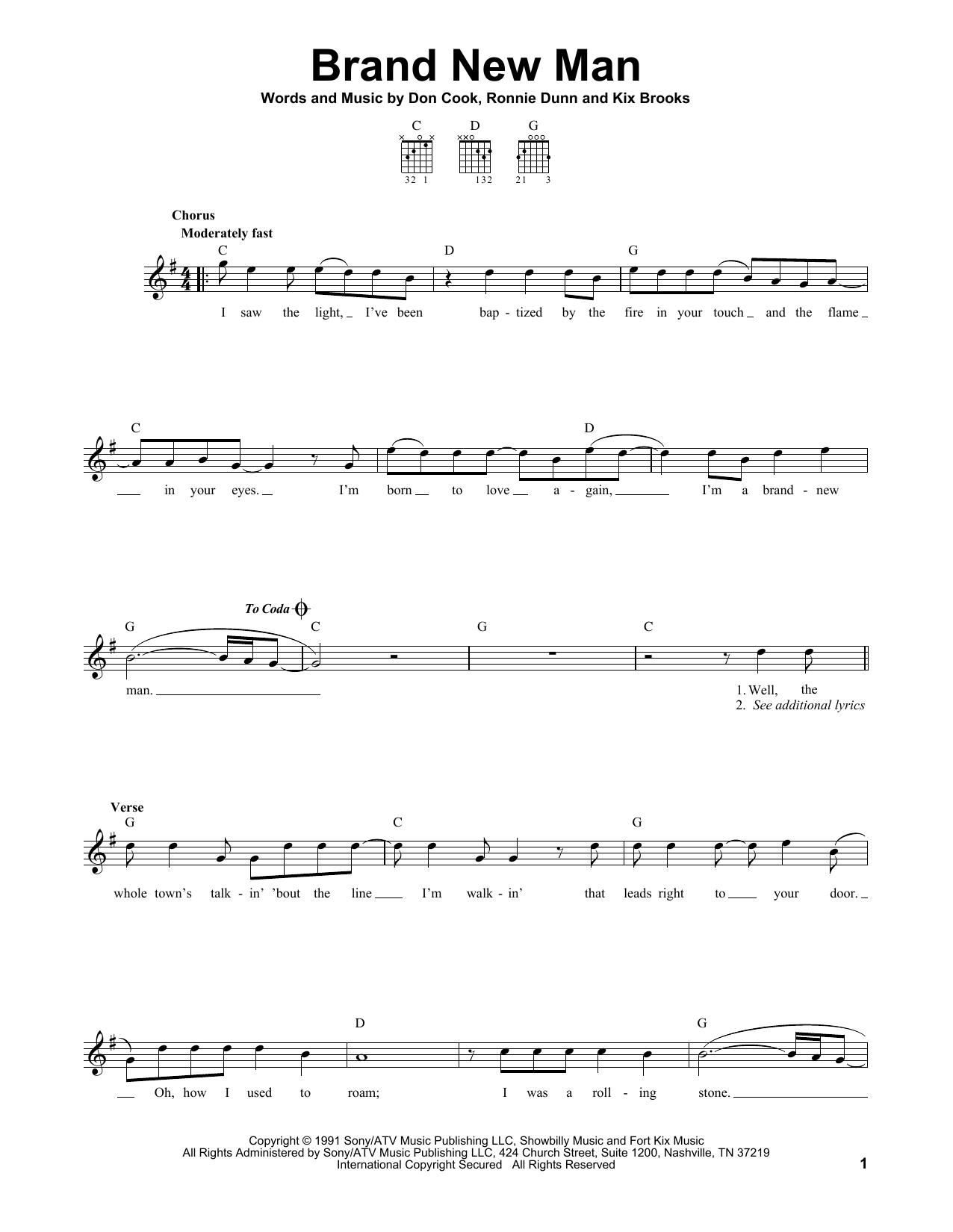Tablature guitare Brand New Man de Brooks & Dunn - Tablature guitare facile
