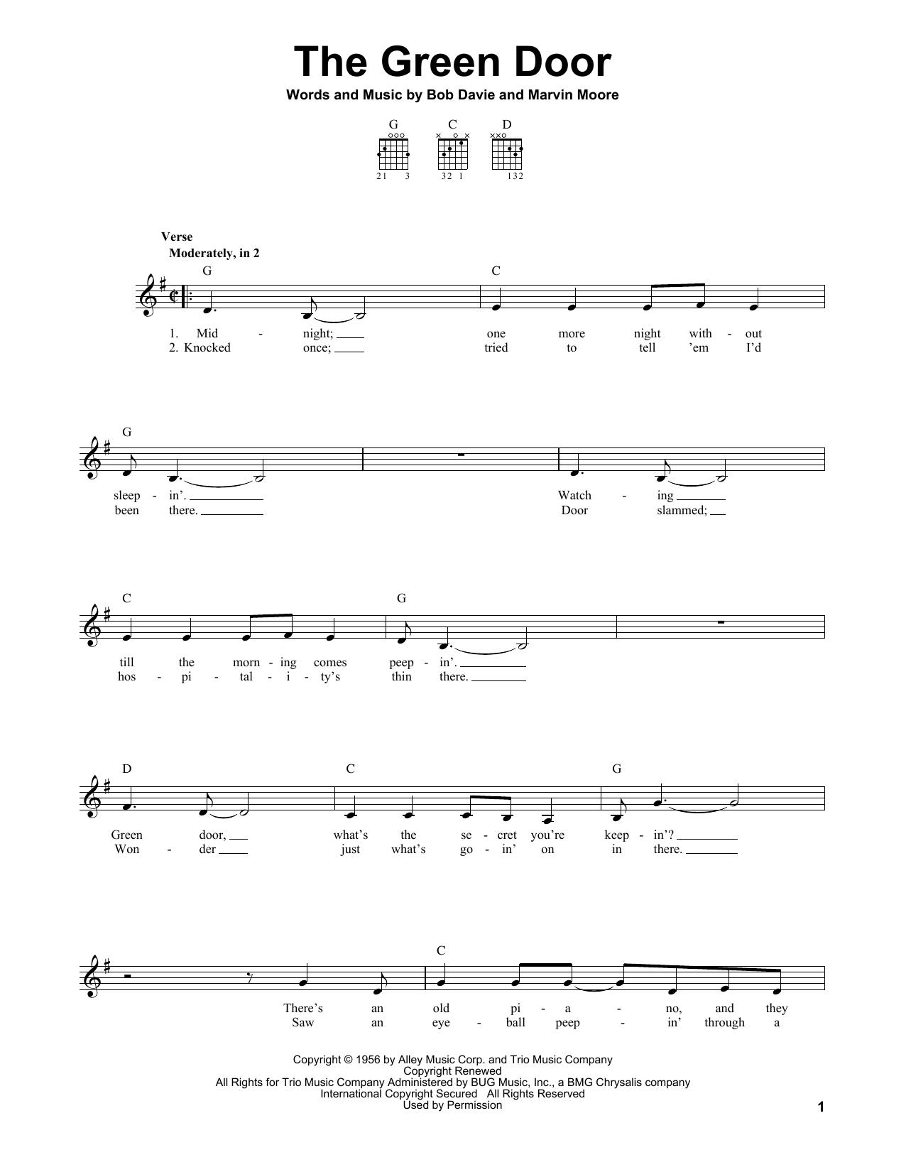 Tablature guitare The Green Door de Jim Lowe - Tablature guitare facile