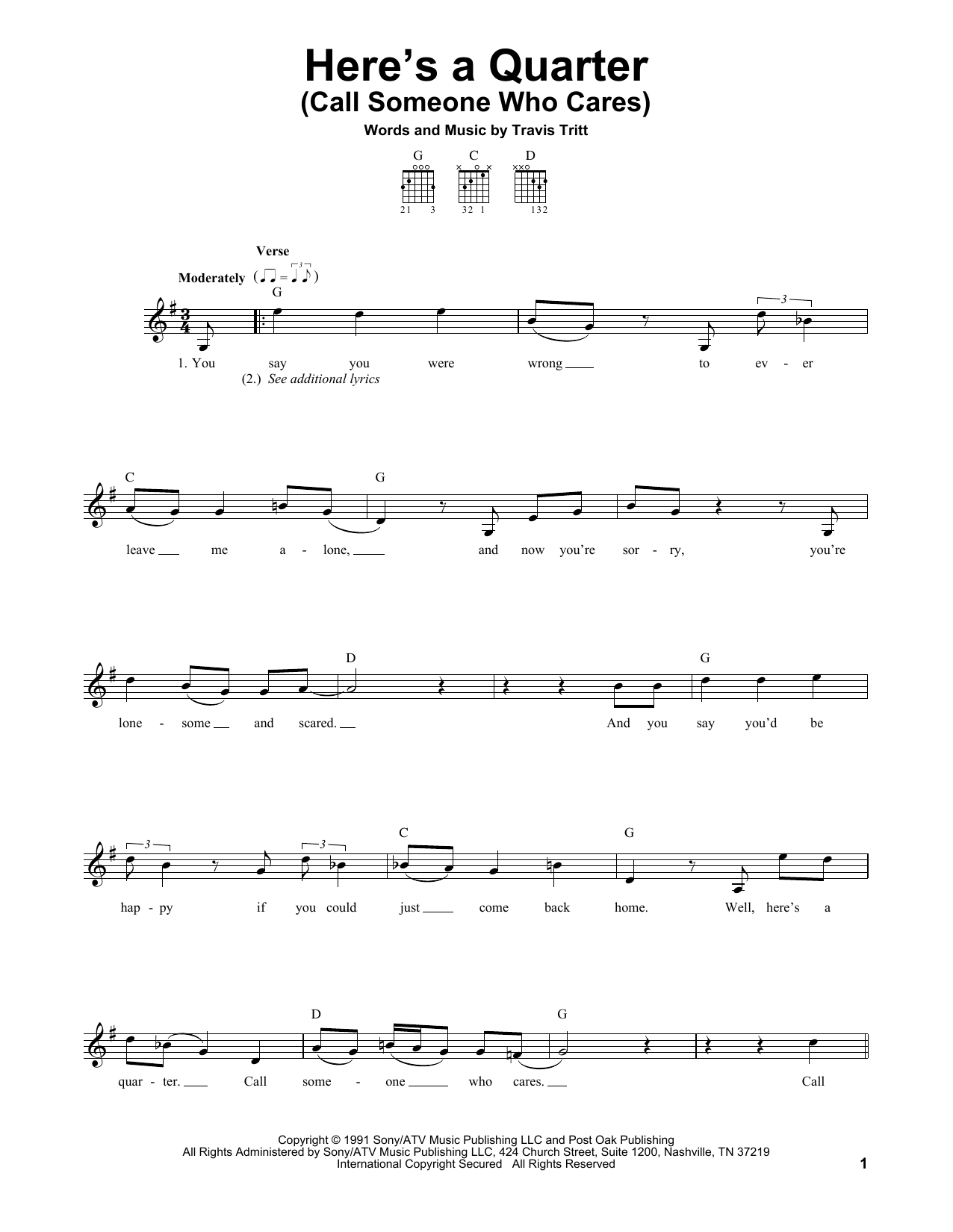 Tablature guitare Here's A Quarter (Call Someone Who Cares) de Travis Tritt - Tablature guitare facile