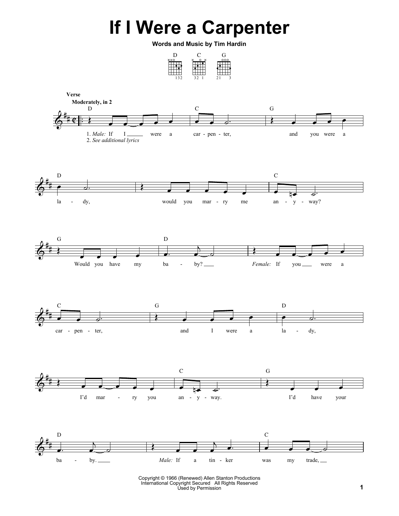 Tablature guitare If I Were A Carpenter de Bobby Darin - Tablature guitare facile