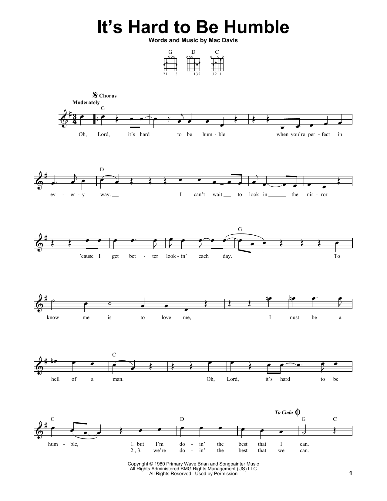 Tablature guitare It's Hard To Be Humble de Mac Davis - Tablature guitare facile