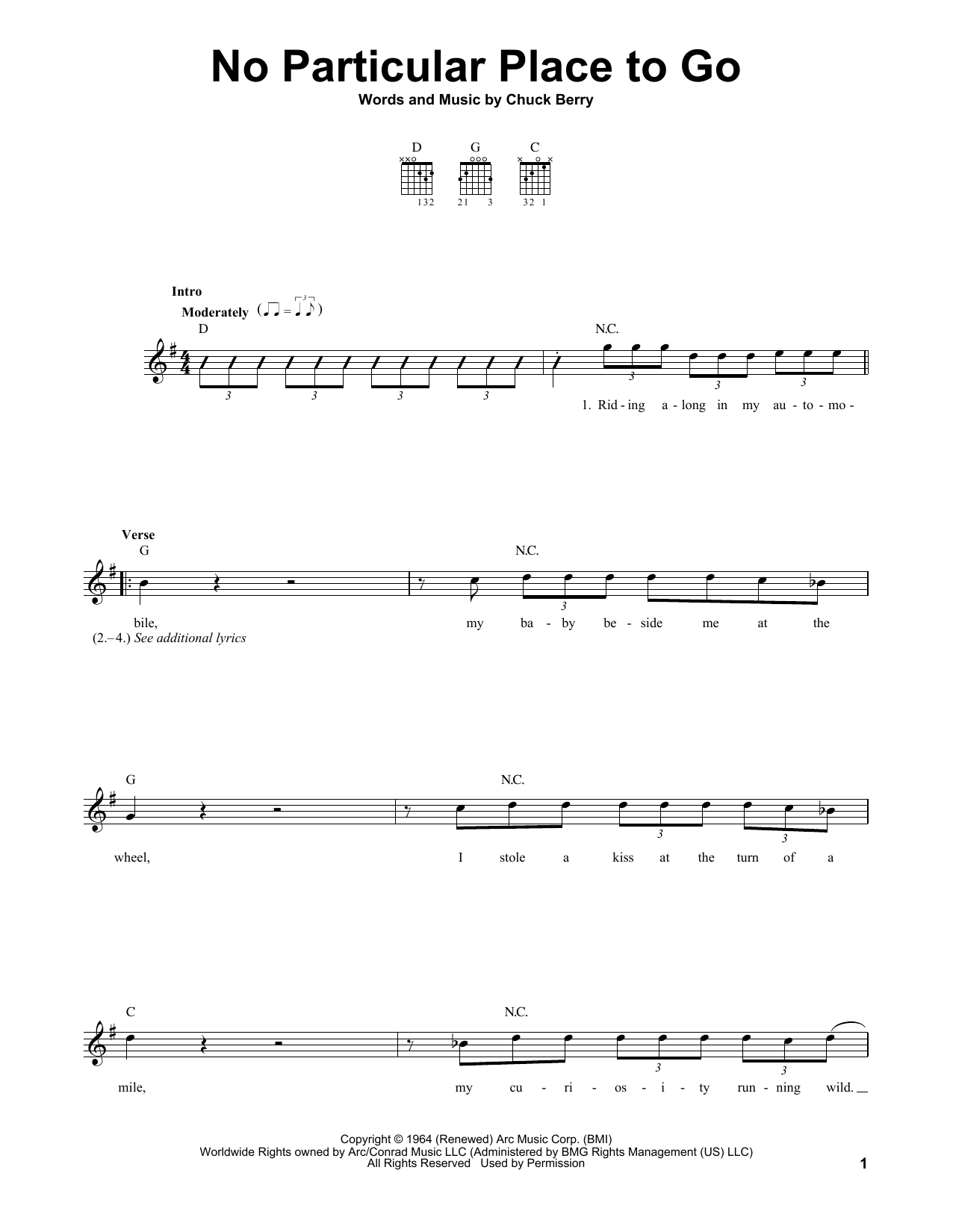 Tablature guitare No Particular Place To Go de Chuck Berry - Tablature guitare facile