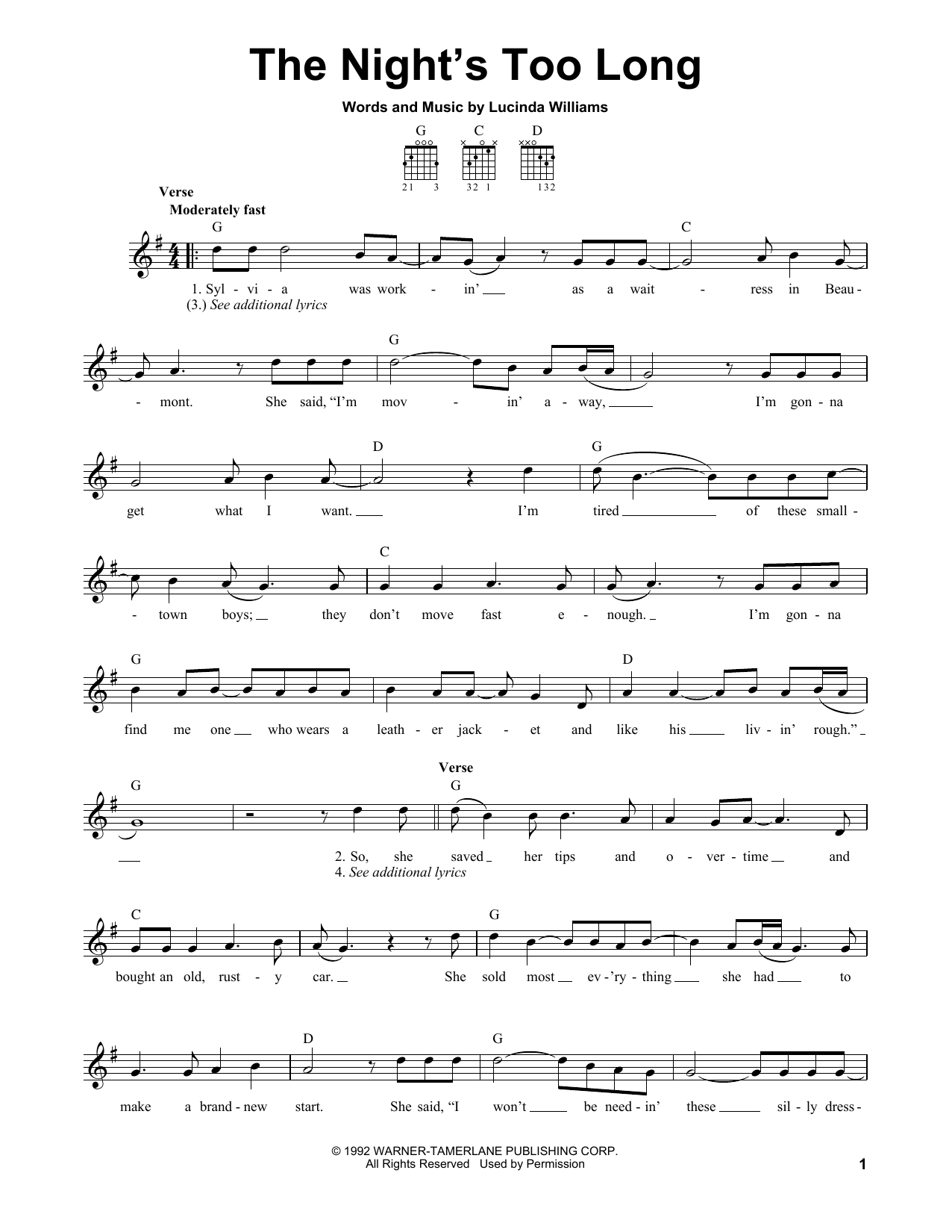 The Night's Too Long Sheet Music