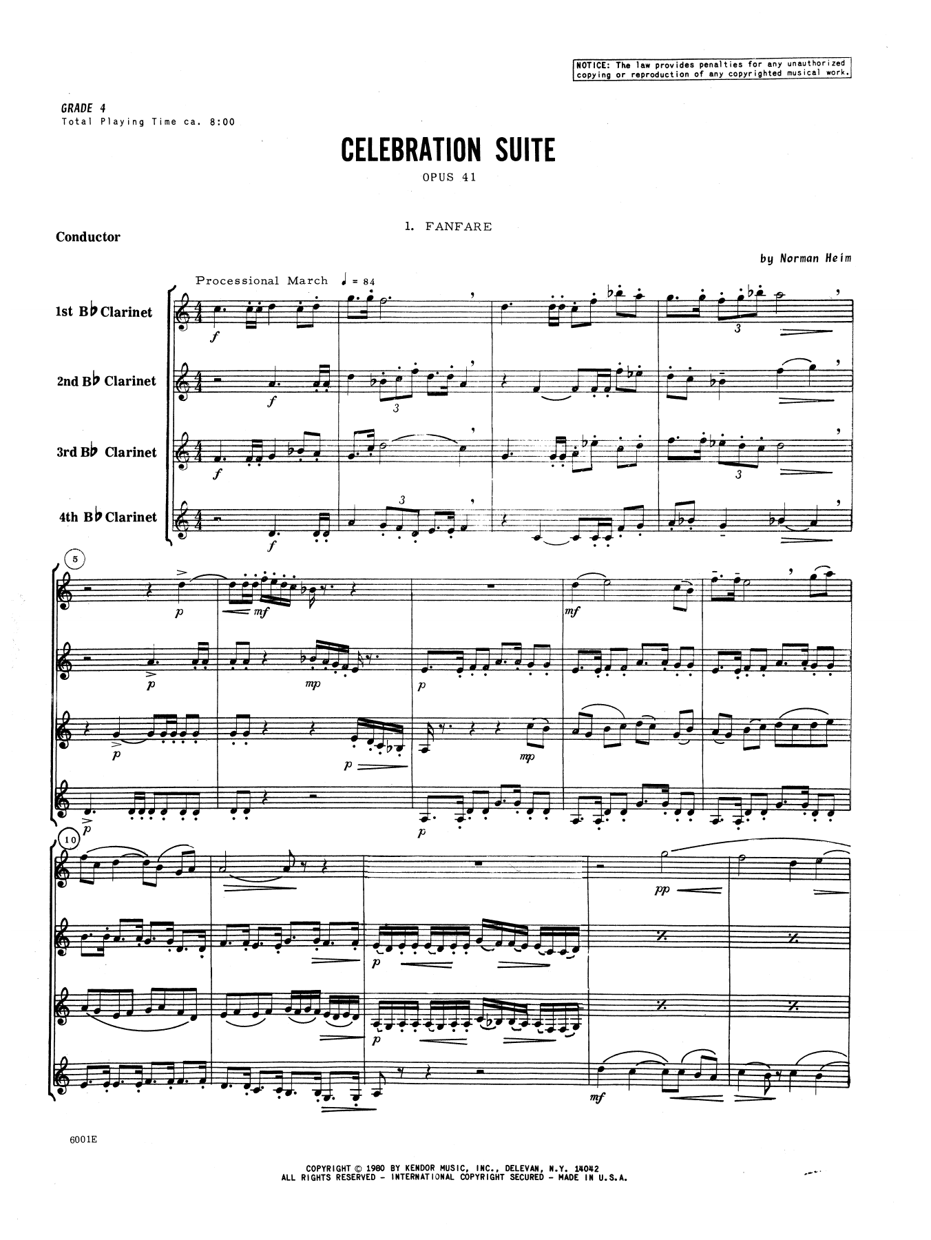 Celebration Suite (COMPLETE) sheet music for clarinet quartet by Heim. Score Image Preview.