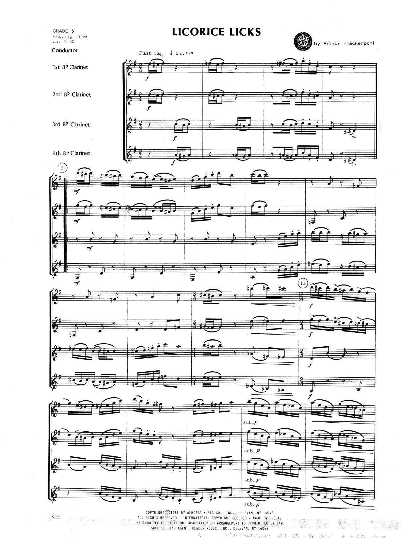 Licorice Licks (COMPLETE) sheet music for clarinet quartet by Arthur Frackenpohl. Score Image Preview.