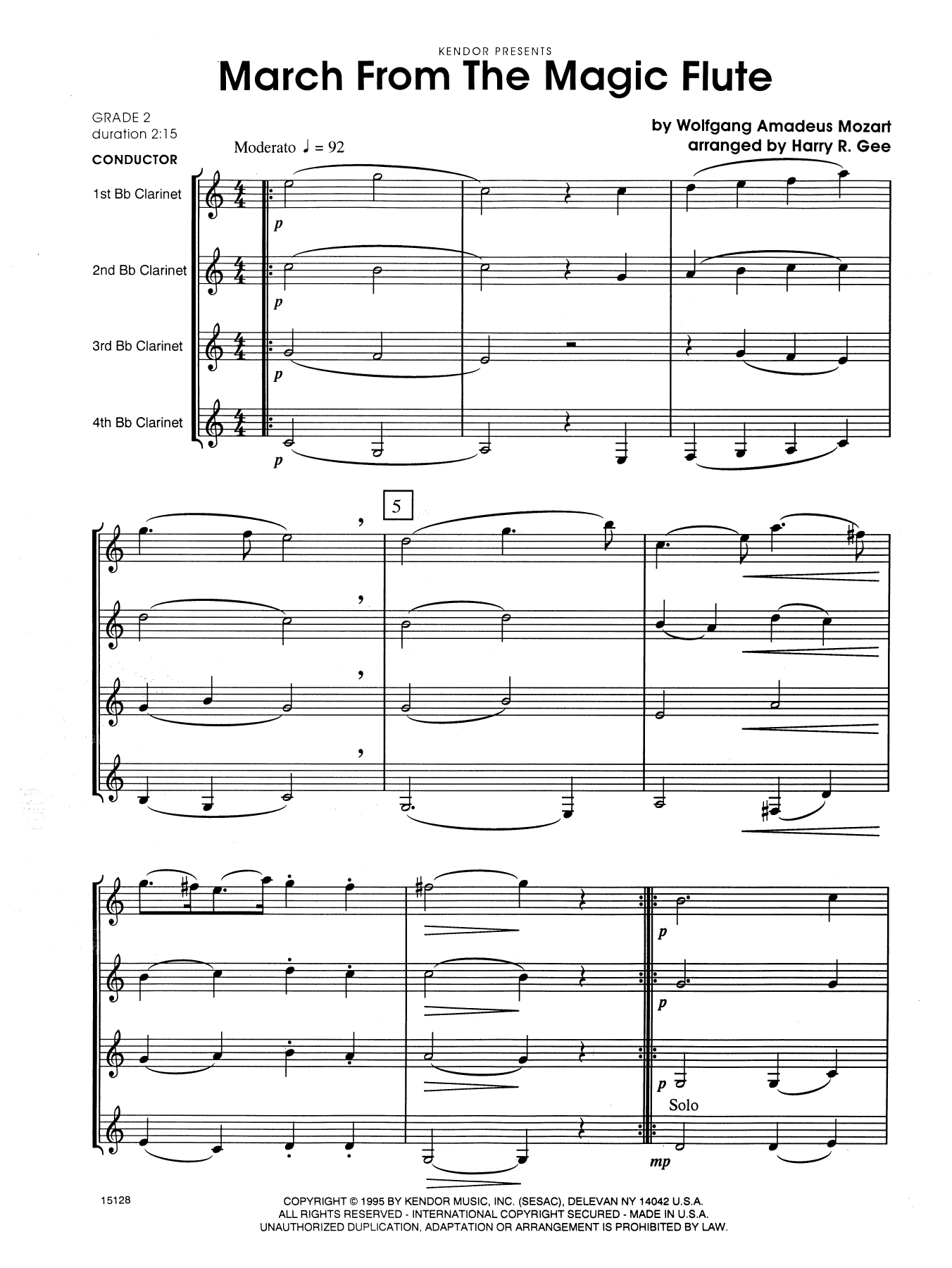 March From The Magic Flute (COMPLETE) sheet music for four clarinets by Harry R. Gee and Wolfgang Amadeus Mozart. Score Image Preview.