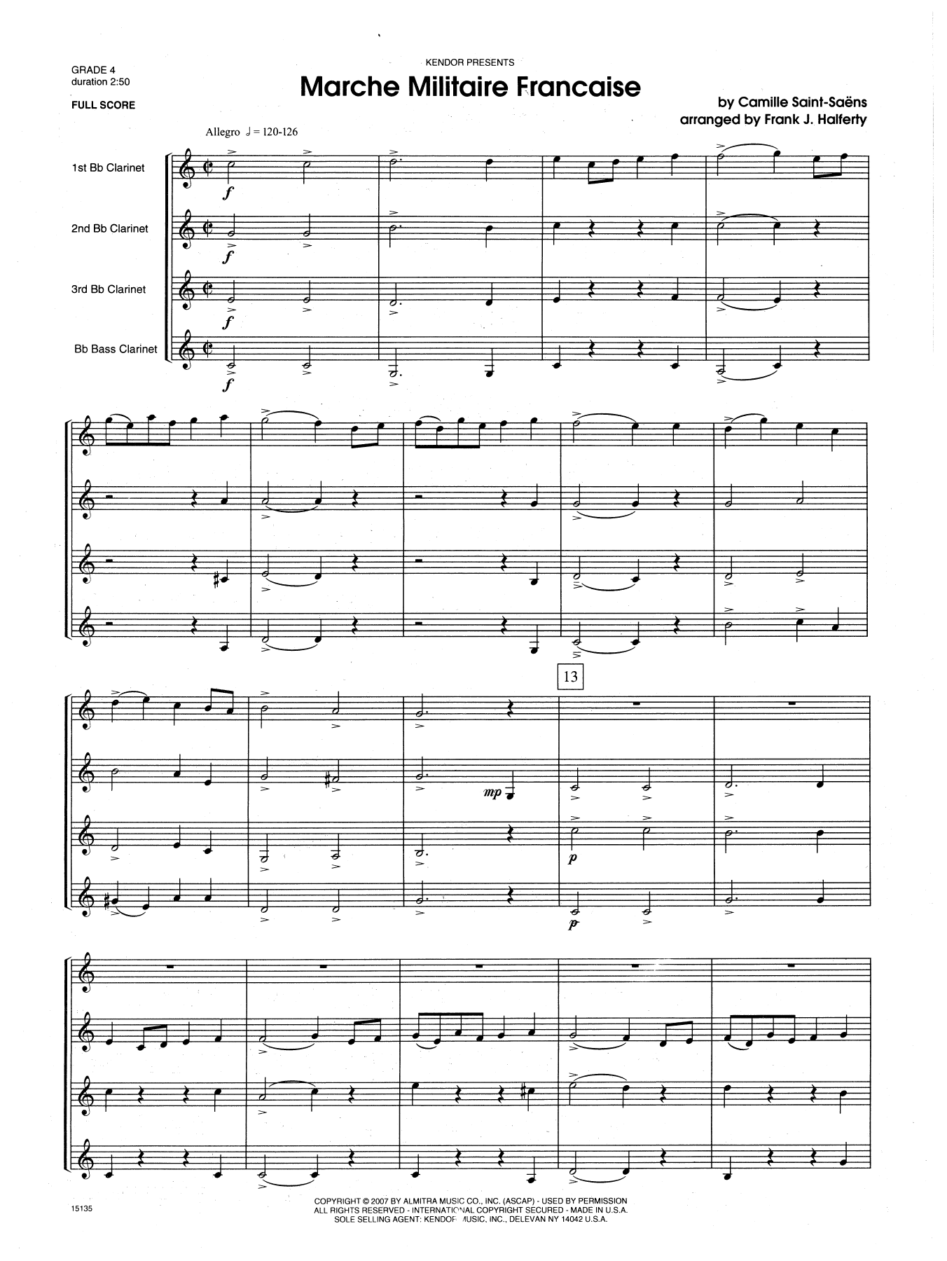 Marche Militaire Francaise (COMPLETE) sheet music for four clarinets by Frank J. Halferty and Camille Saint-Saens. Score Image Preview.