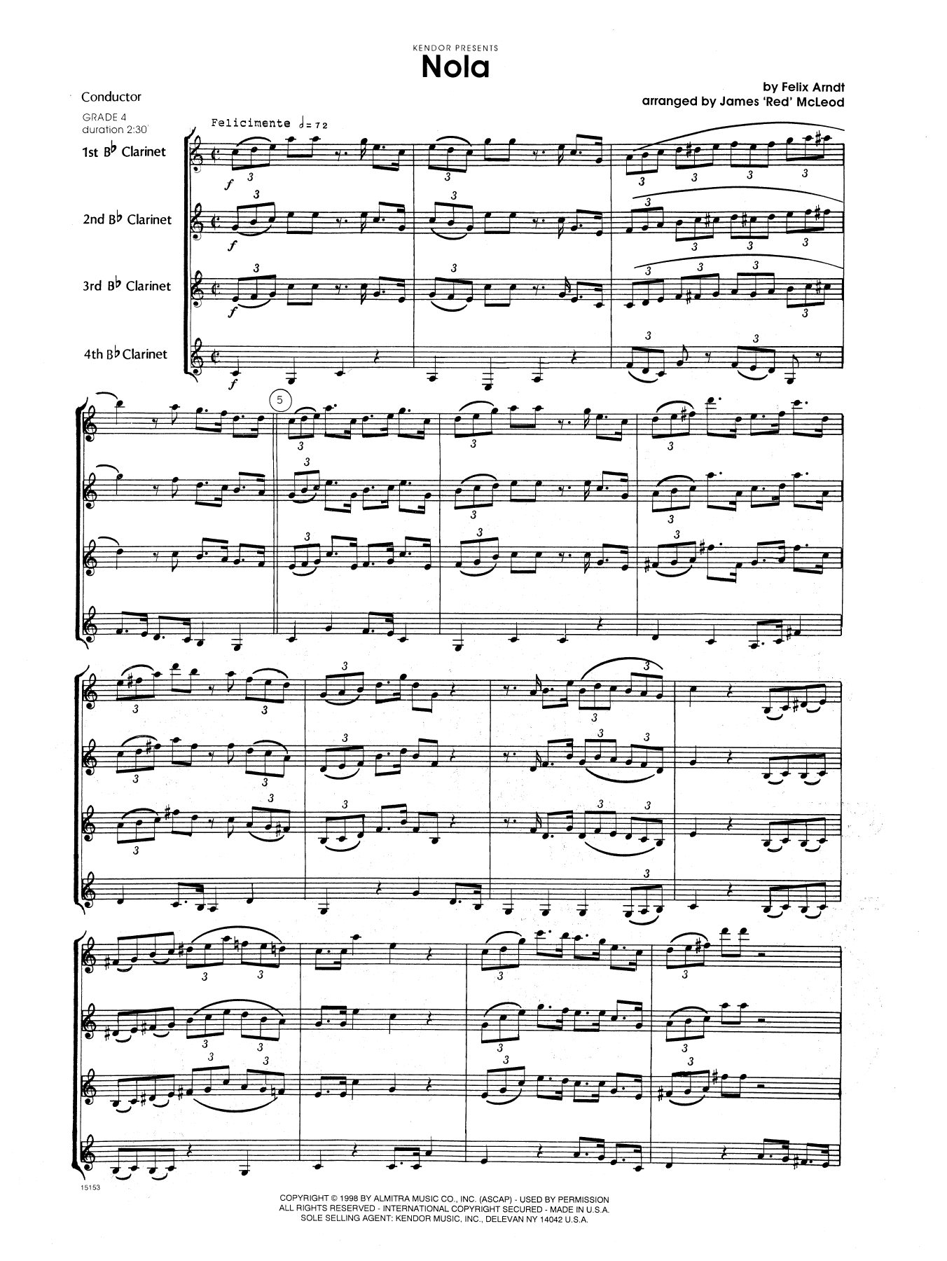 Nola (COMPLETE) sheet music for four clarinets by James