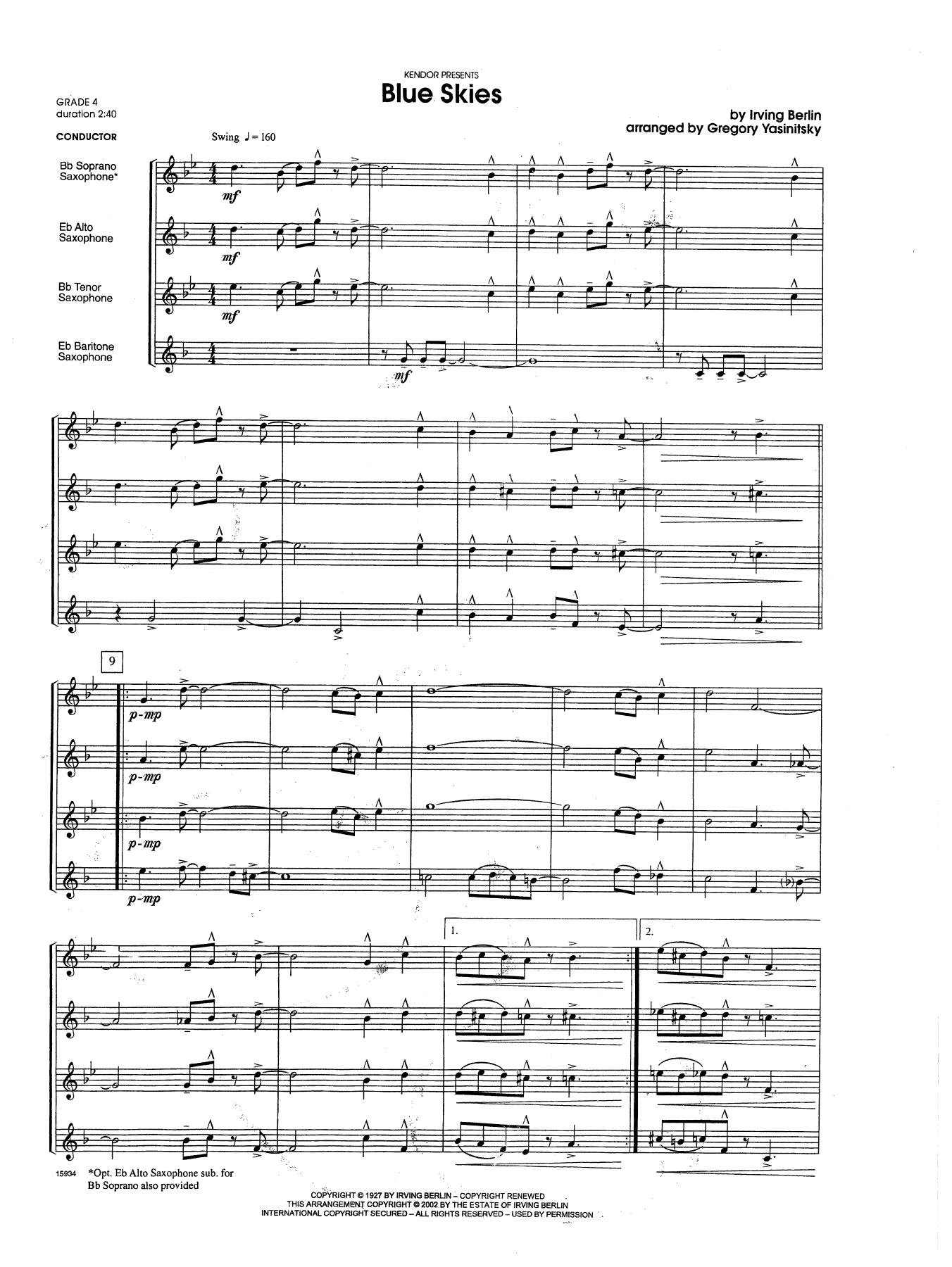 Blue Skies (COMPLETE) sheet music for saxophone quartet by Gregory Yasinitsky and Berlin. Score Image Preview.