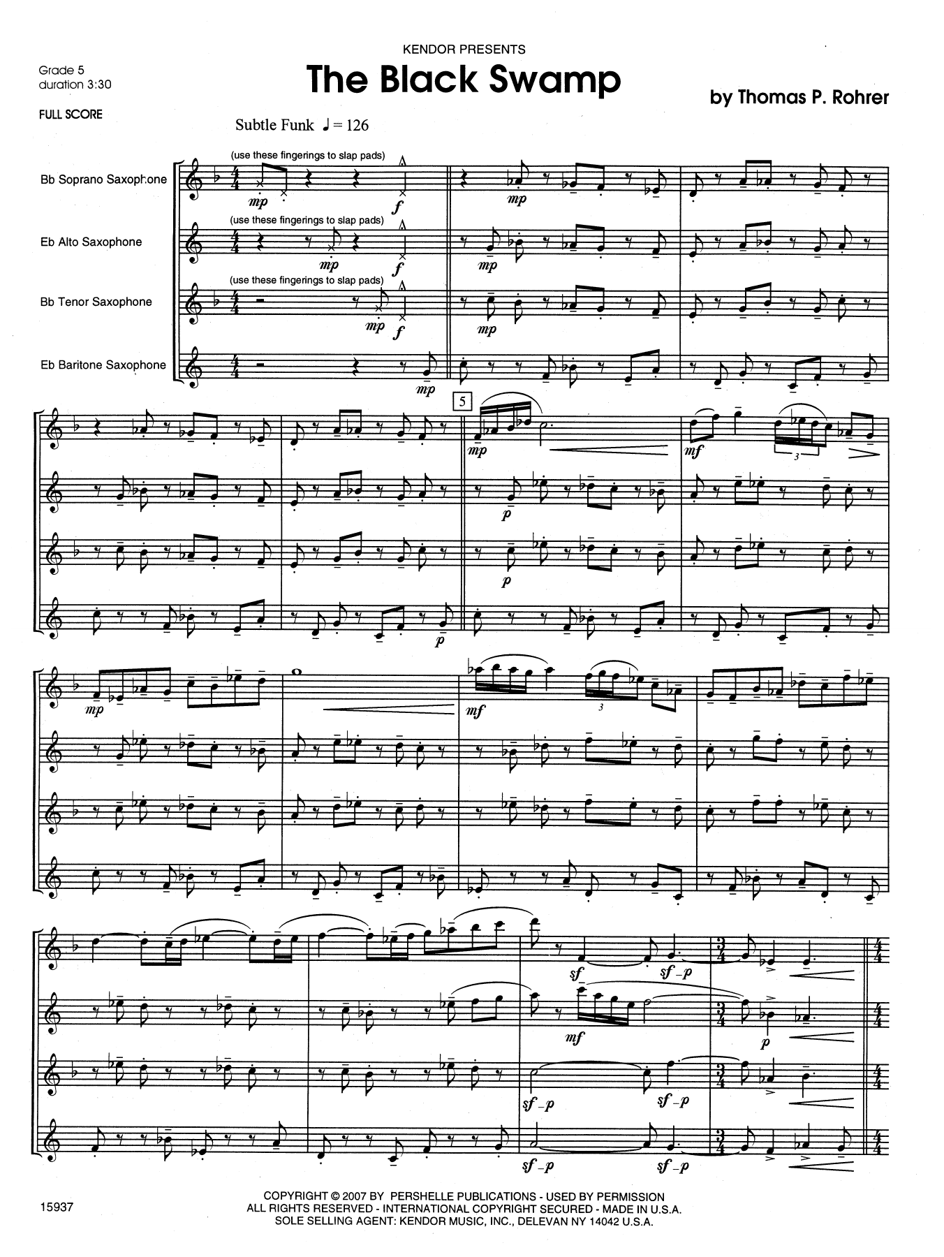 The Black Swamp (COMPLETE) sheet music for saxophone quartet by Rohrer. Score Image Preview.