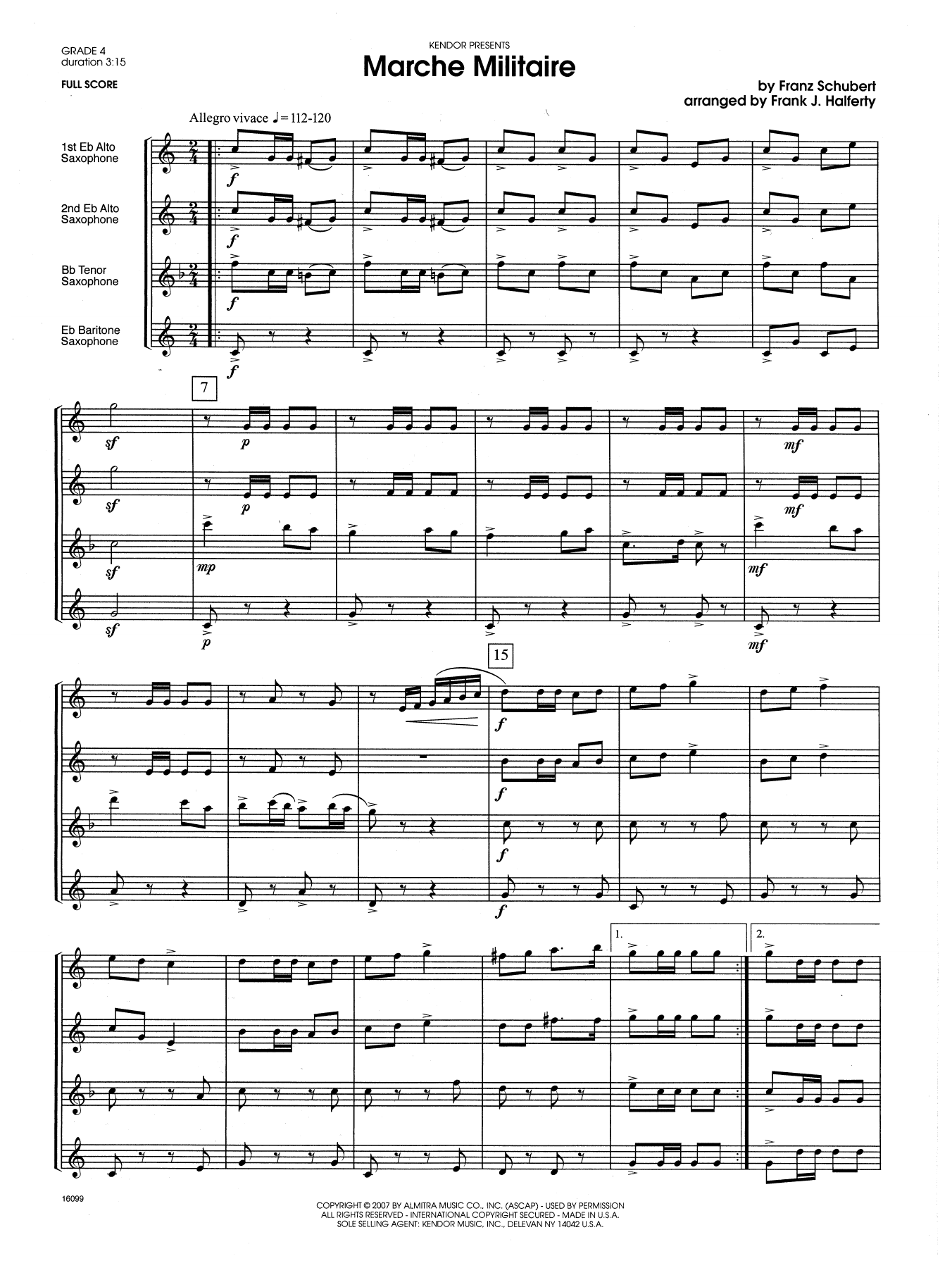 Marche Militaire (COMPLETE) sheet music for saxophone quartet by Franz Schubert and Frank J. Halferty. Score Image Preview.
