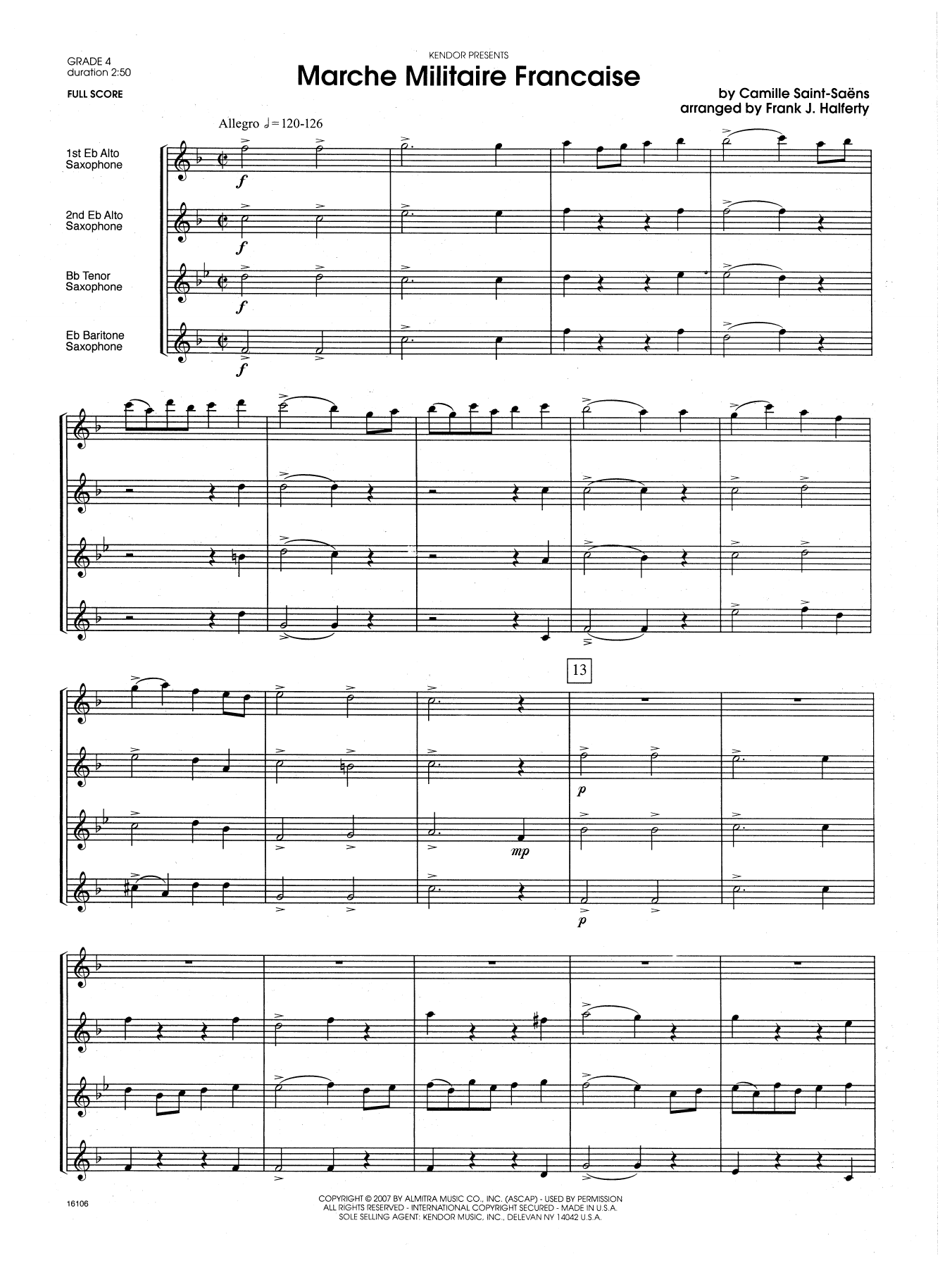 Marche Militaire Francaise (COMPLETE) sheet music for saxophone quartet by Frank J. Halferty and Camille Saint-Saens. Score Image Preview.