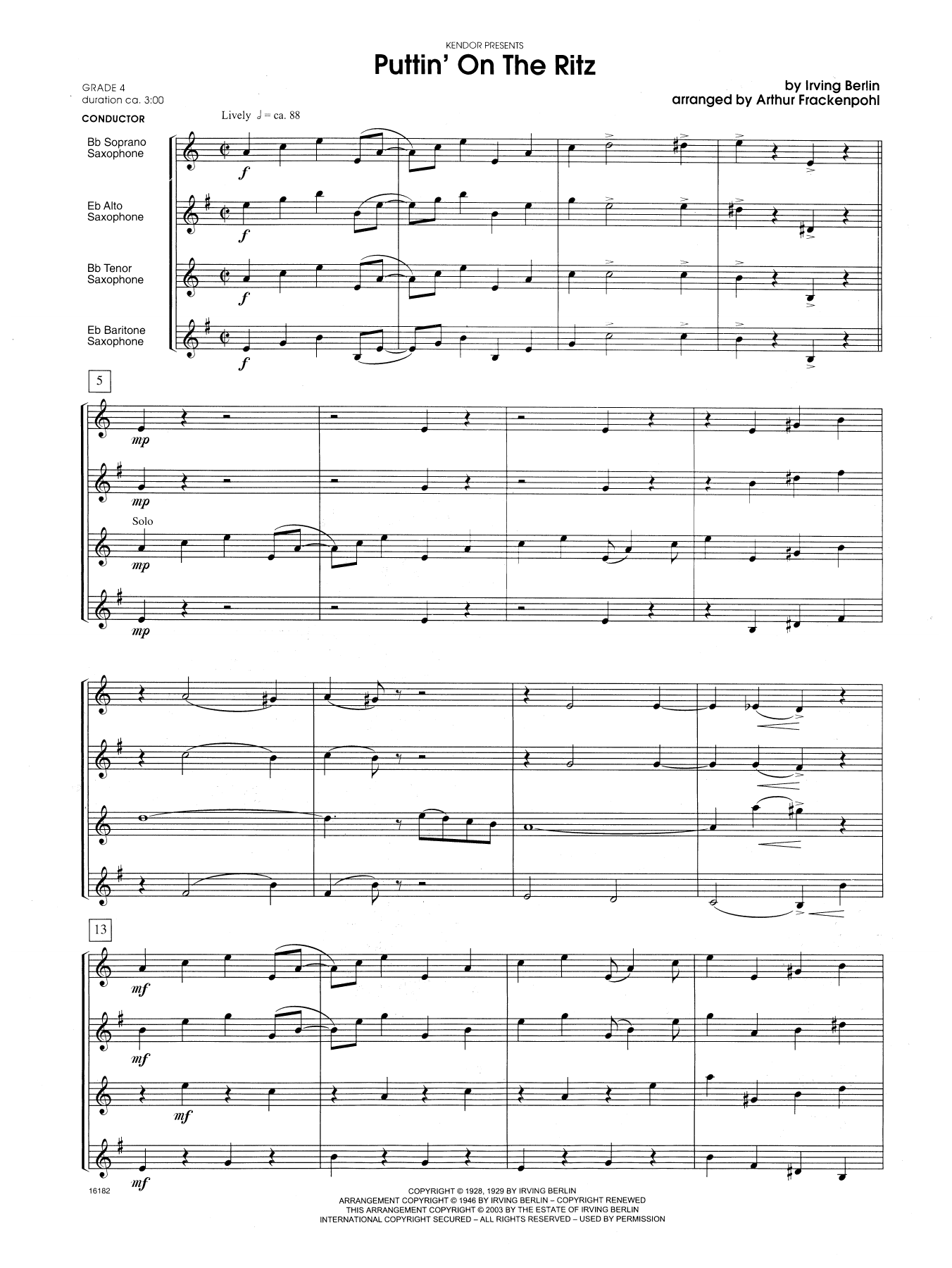 Puttin' on the Ritz (COMPLETE) sheet music for saxophone quartet by Arthur Frackenpohl and Berlin. Score Image Preview.