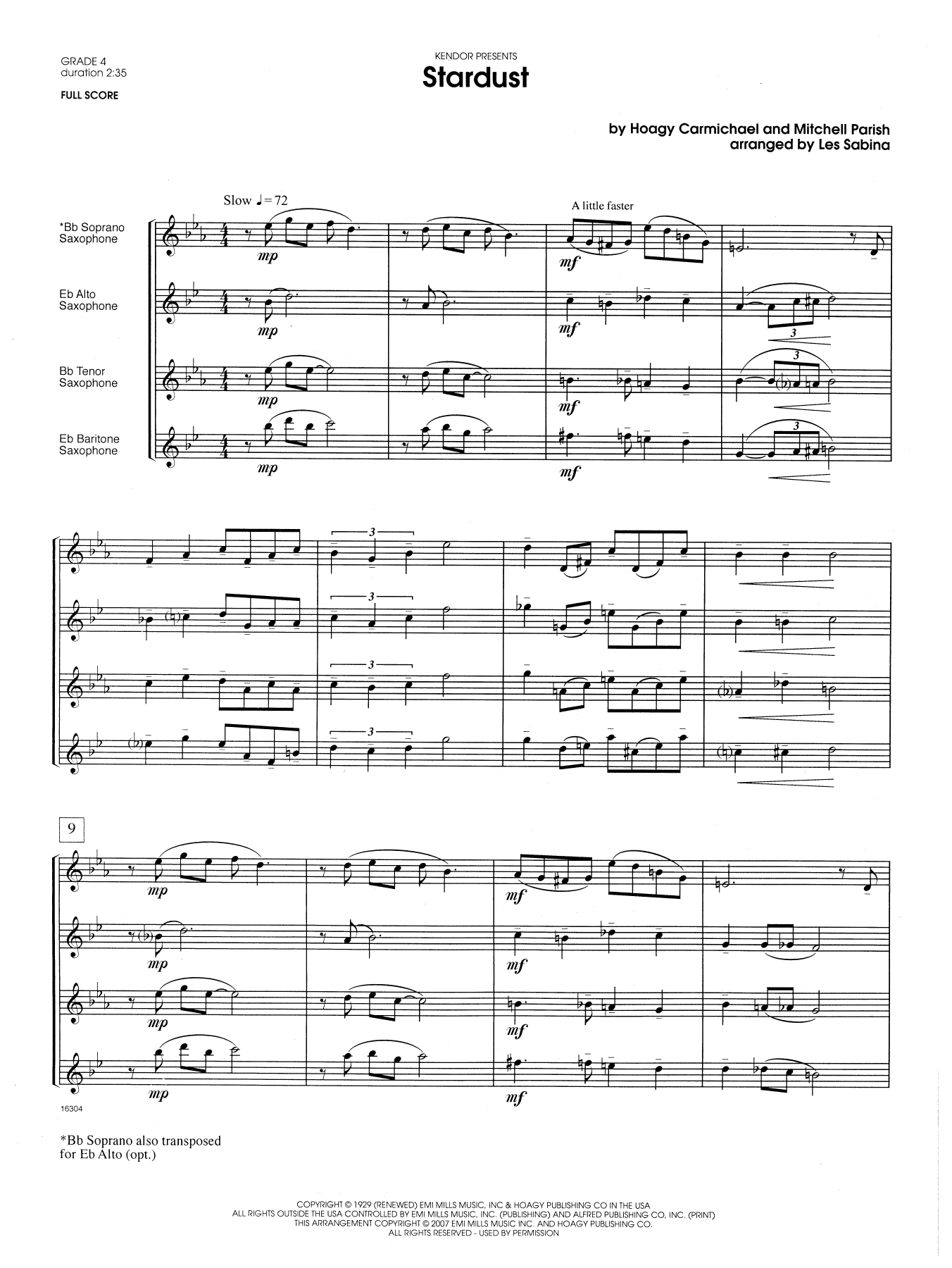 Stardust (COMPLETE) sheet music for saxophone quartet by Les Sabina. Score Image Preview.