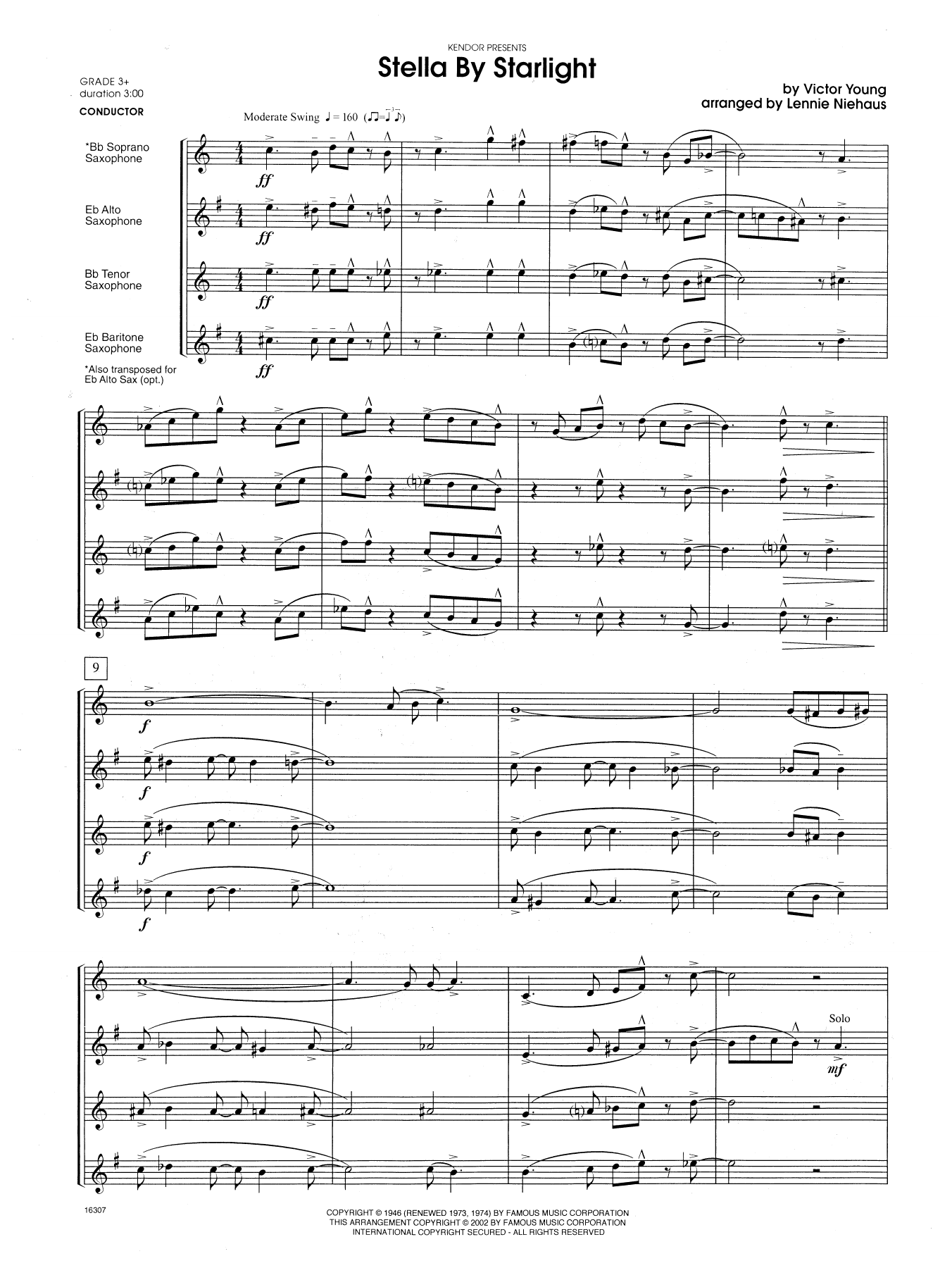 Stella By Starlight (from the Paramount Picture The Uninvited) (COMPLETE) sheet music for saxophone quartet by Lennie Niehaus and Adam Young. Score Image Preview.