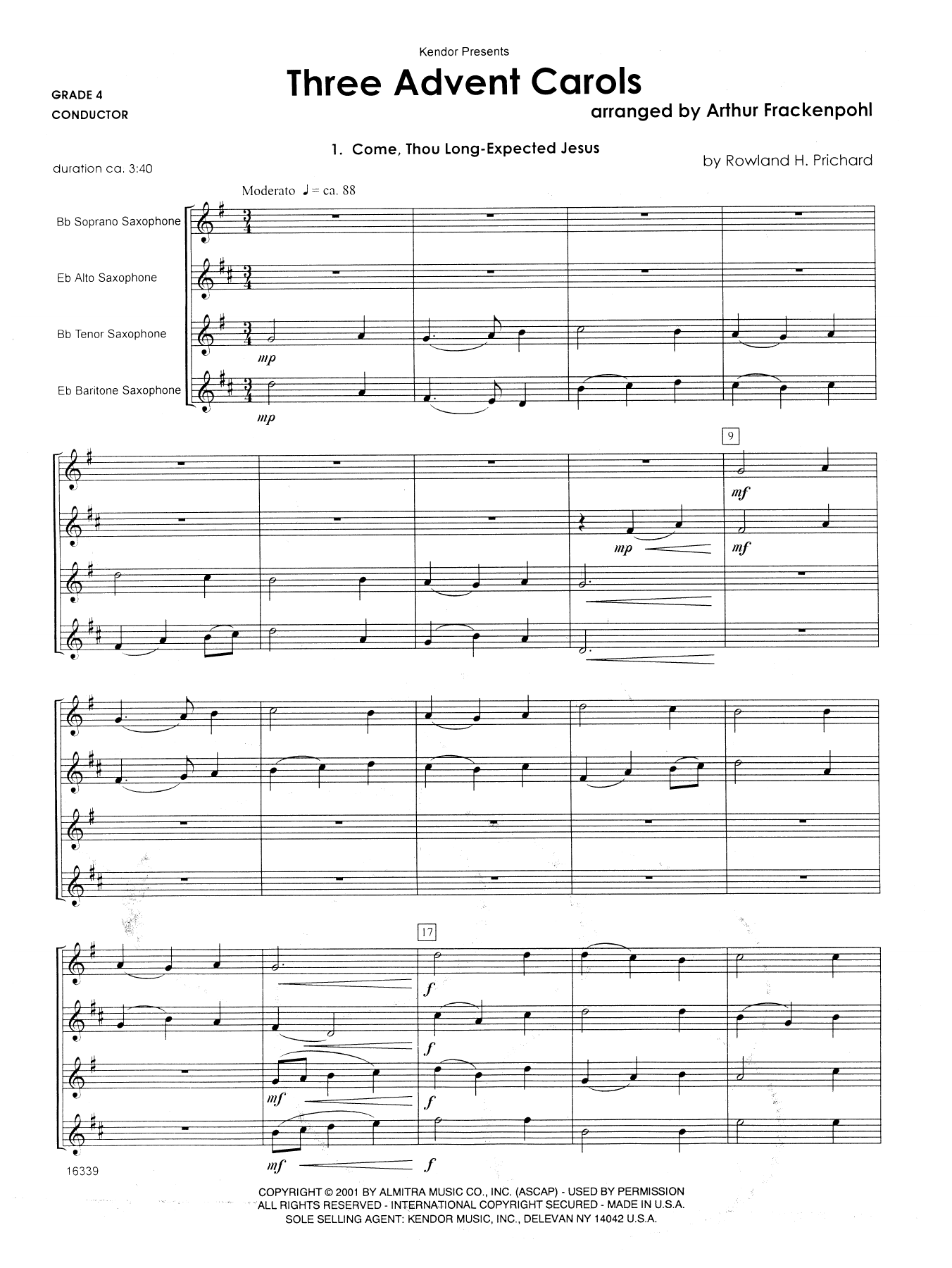 Three Advent Carols (COMPLETE) sheet music for saxophone quartet by Arthur Frackenpohl. Score Image Preview.