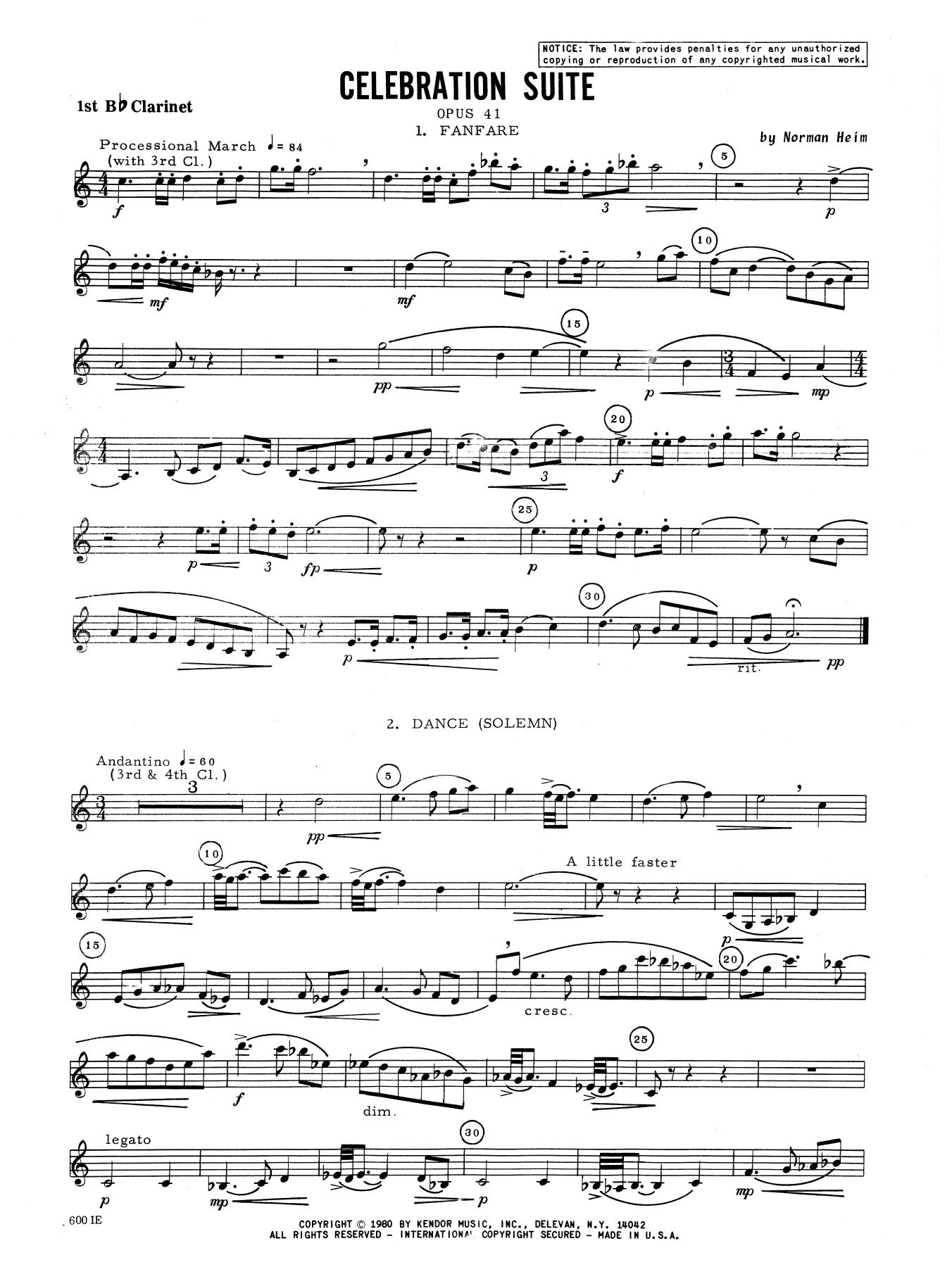 Celebration Suite - 1st Bb Clarinet Sheet Music