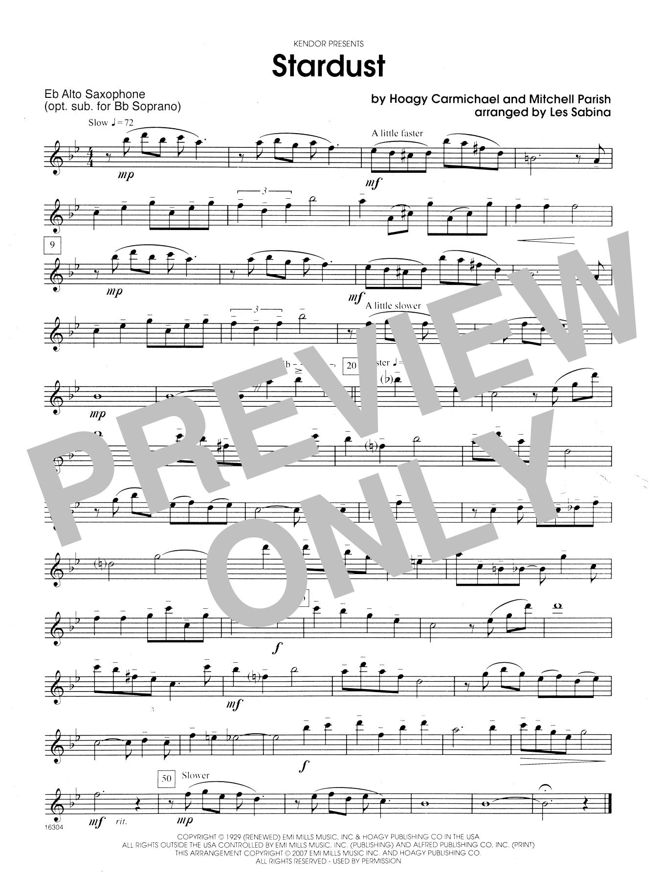 Stardust - Opt. Alto Sax Sheet Music