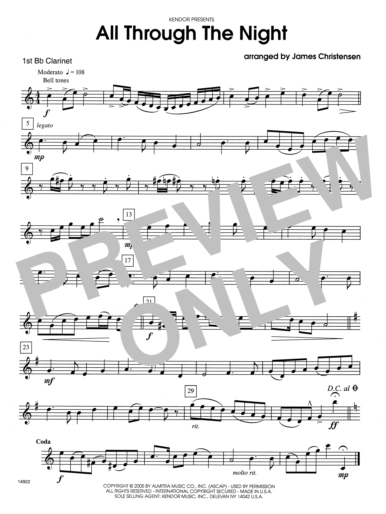 All Through the Night - 1st Bb Clarinet Sheet Music