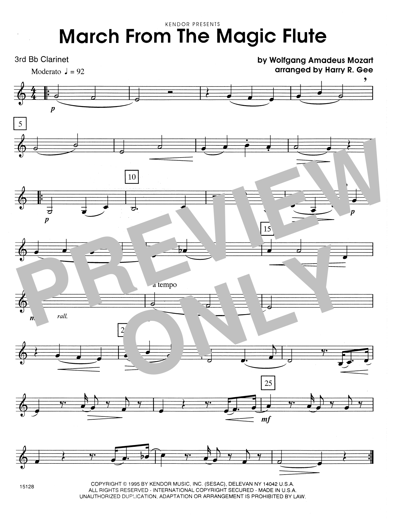 March From The Magic Flute - 3rd Bb Clarinet Sheet Music