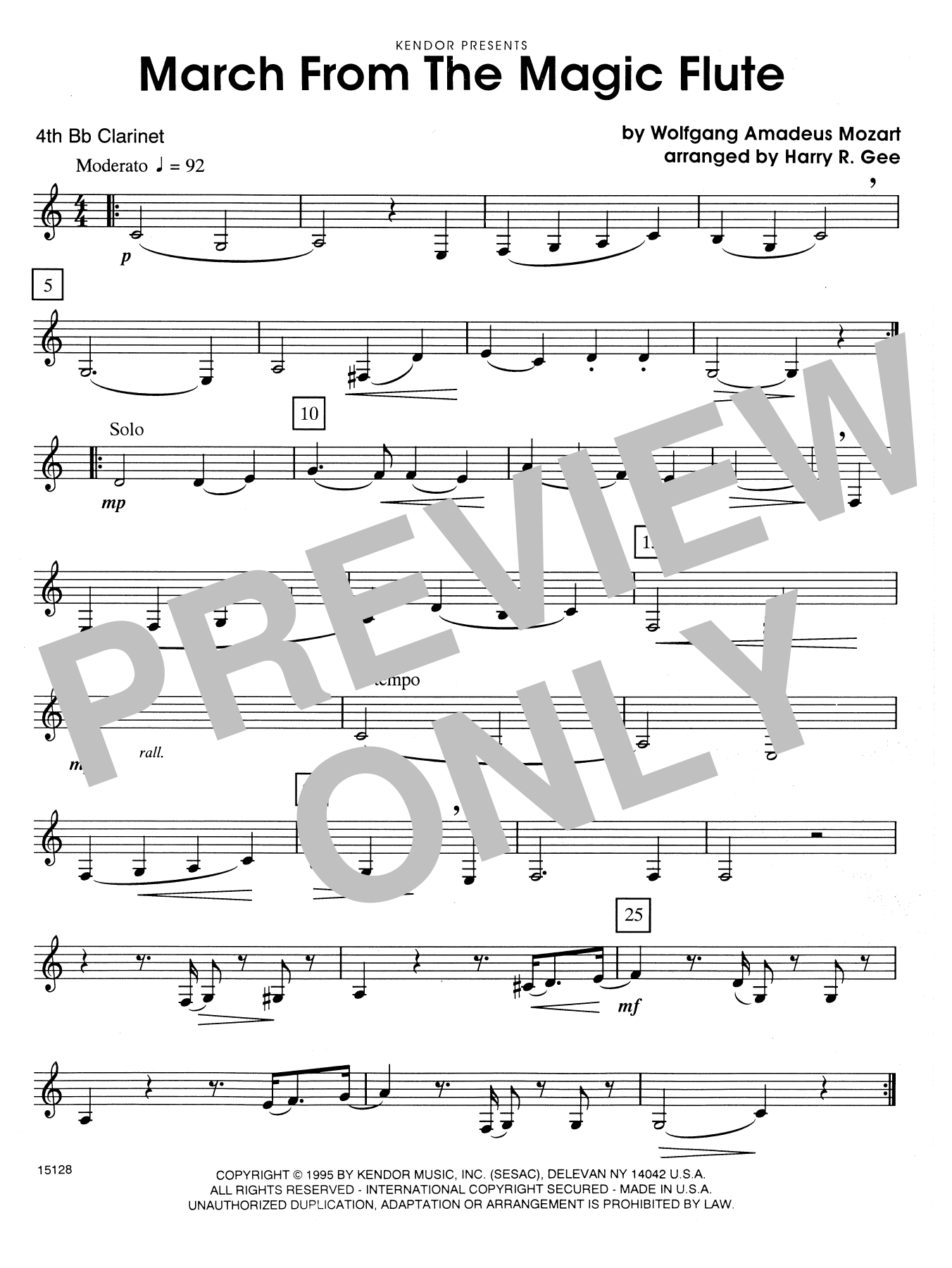 March From The Magic Flute - 4th Bb Clarinet Sheet Music