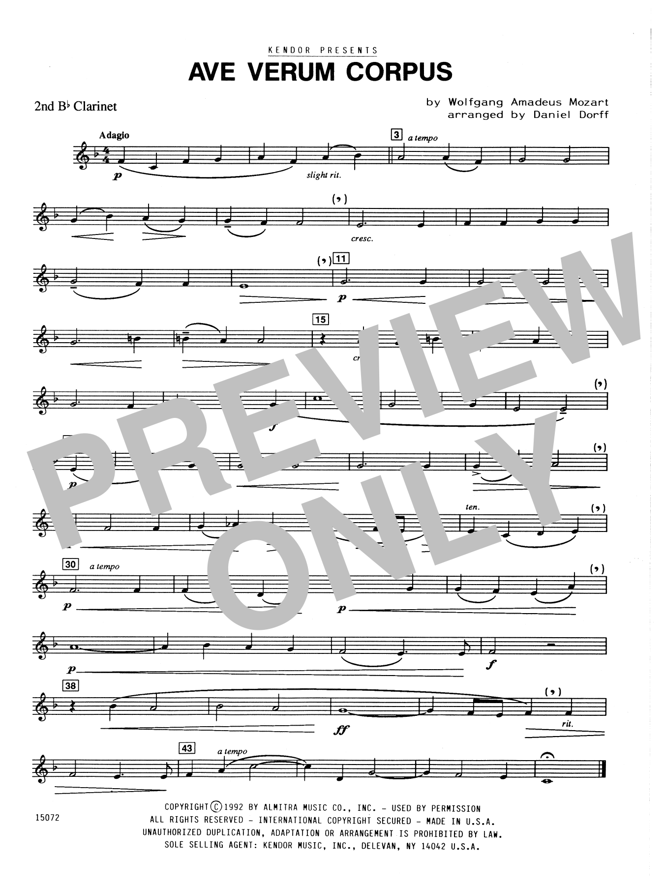 Ave Verum Corpus - 2nd Bb Clarinet Sheet Music