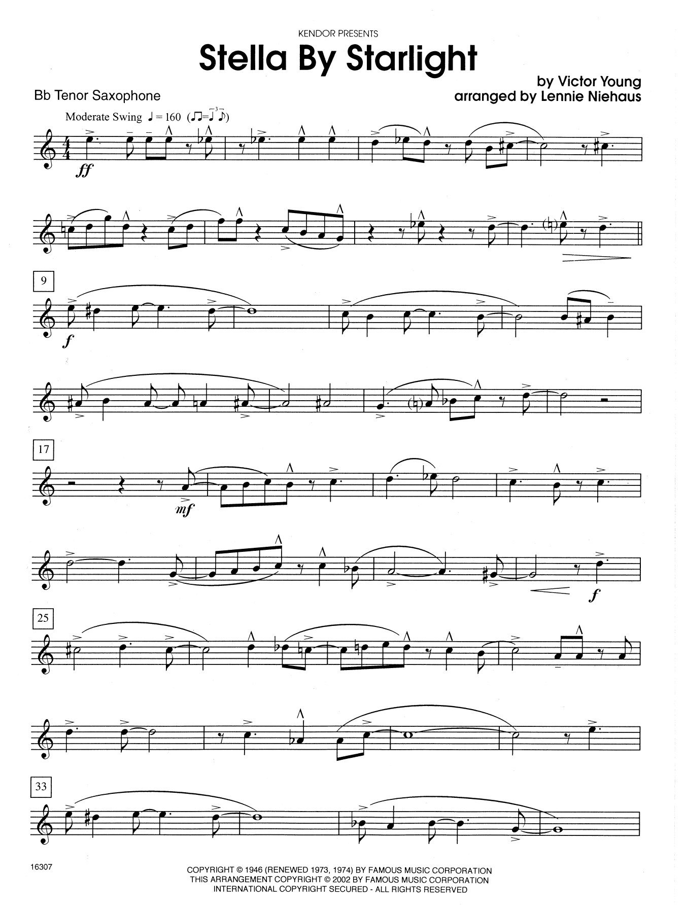 Stella By Starlight (from the Paramount Picture The Uninvited) - Bb Tenor Saxophone Sheet Music
