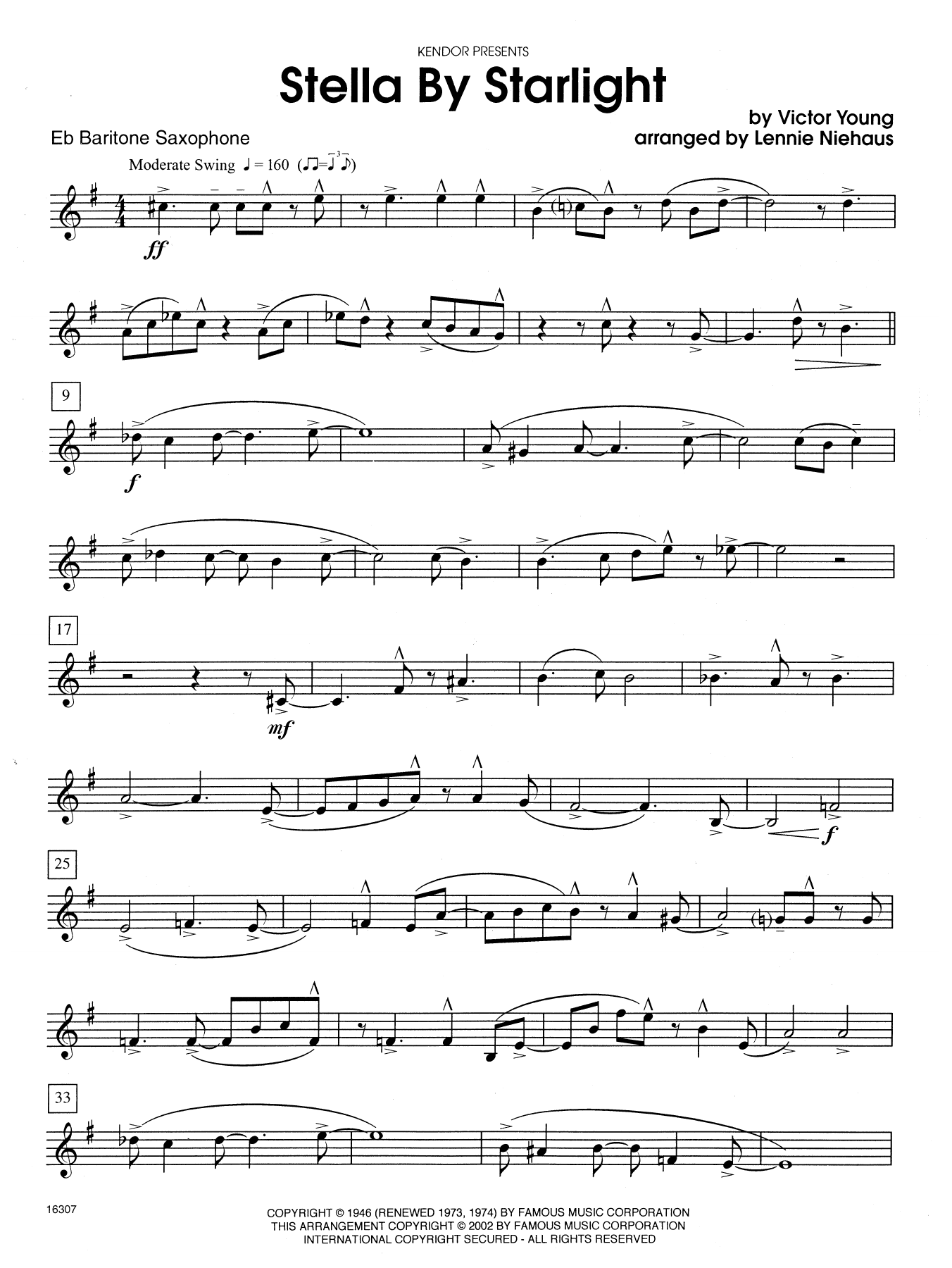 Stella By Starlight (from the Paramount Picture The Uninvited) - Eb Baritone Saxophone Sheet Music