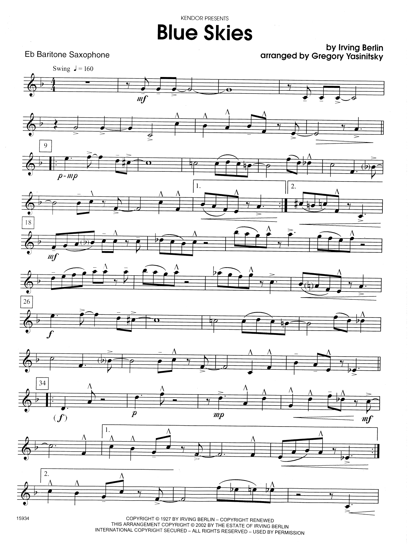 Blue Skies - Eb Baritone Saxophone Sheet Music